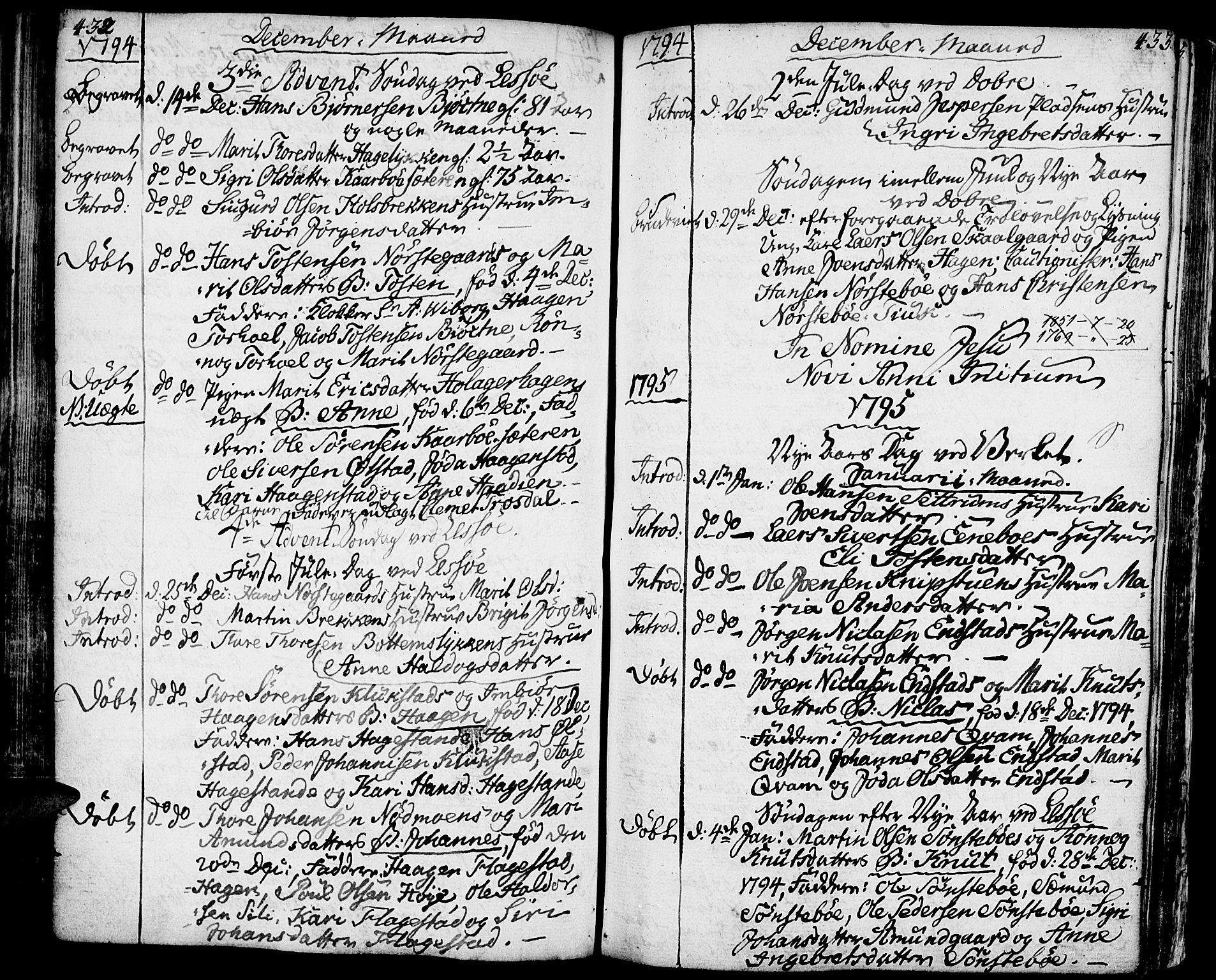 SAH, Lesja prestekontor, Ministerialbok nr. 3, 1777-1819, s. 432-433
