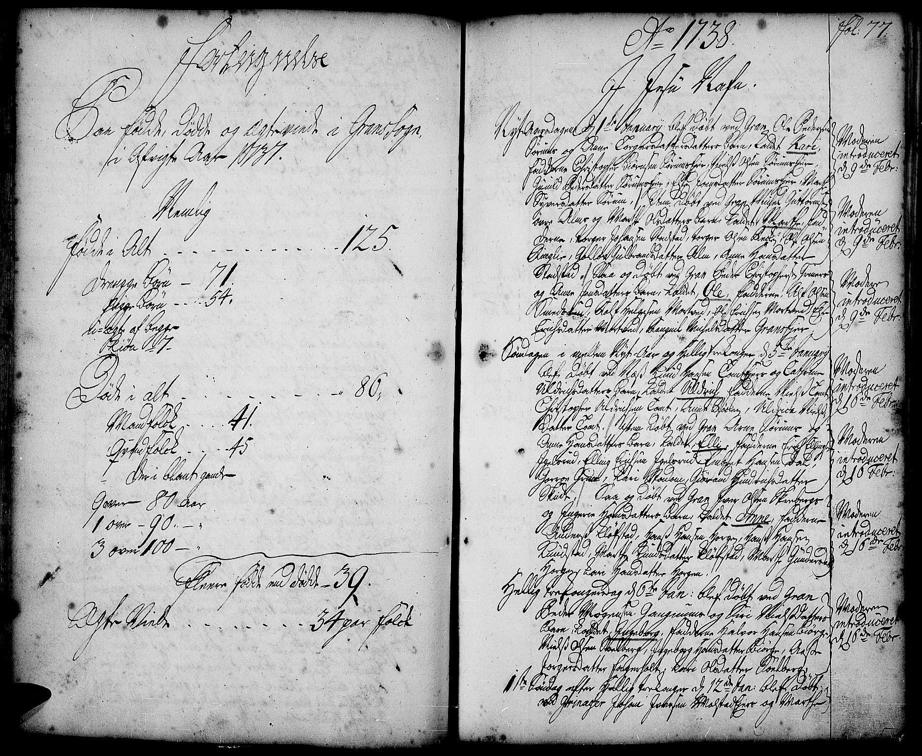 SAH, Gran prestekontor, Ministerialbok nr. 2, 1732-1744, s. 77