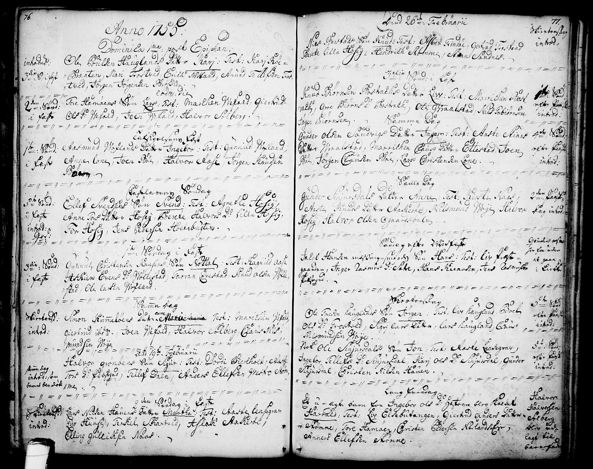 SAKO, Drangedal kirkebøker, F/Fa/L0001: Ministerialbok nr. 1, 1697-1767, s. 76-77