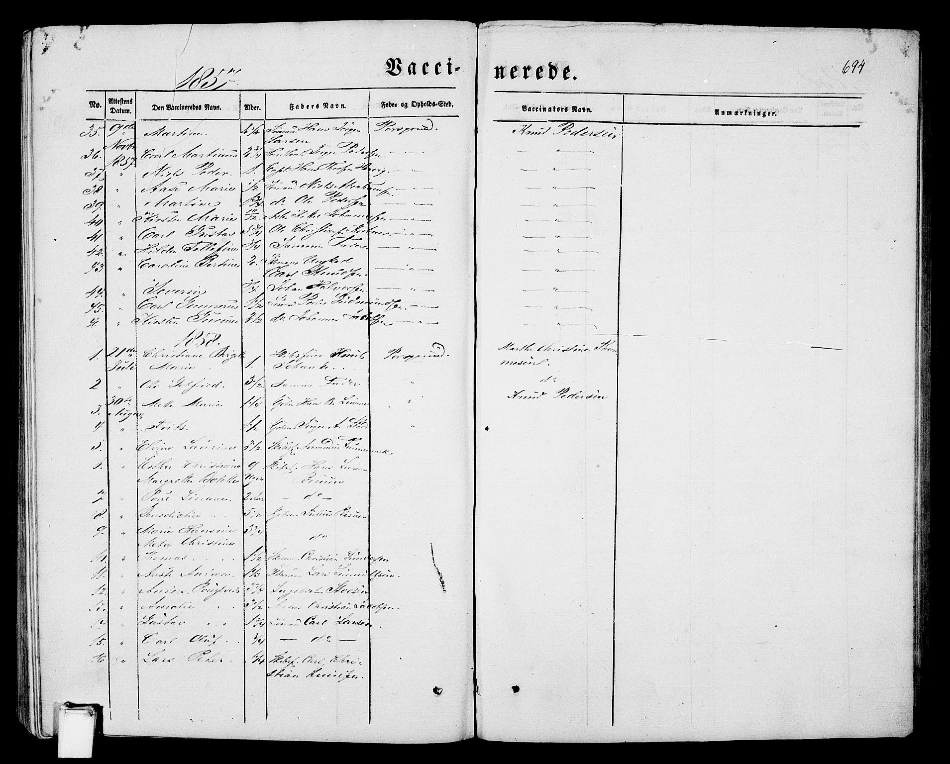 SAKO, Porsgrunn kirkebøker , G/Gb/L0004: Klokkerbok nr. II 4, 1853-1882, s. 694