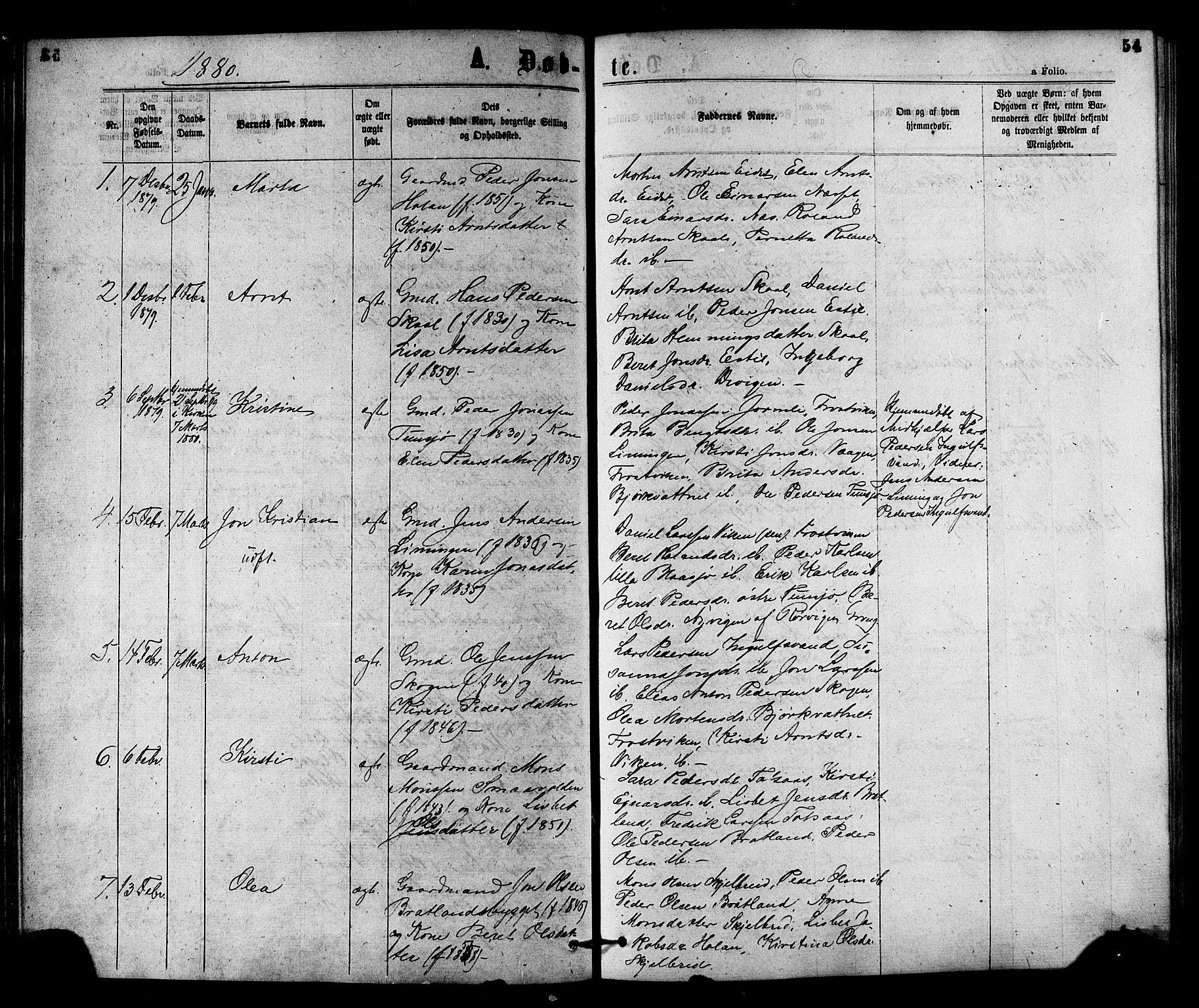 SAT, Ministerialprotokoller, klokkerbøker og fødselsregistre - Nord-Trøndelag, 755/L0493: Ministerialbok nr. 755A02, 1865-1881, s. 54