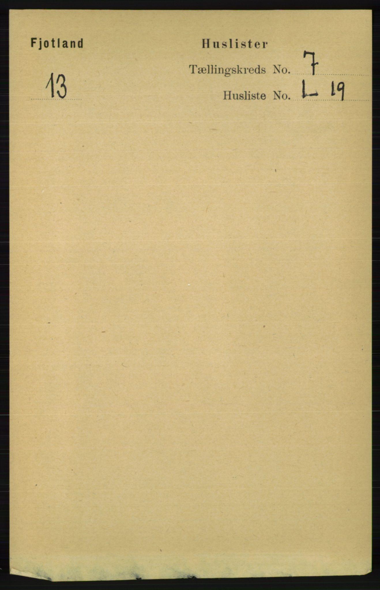RA, Folketelling 1891 for 1036 Fjotland herred, 1891, s. 994