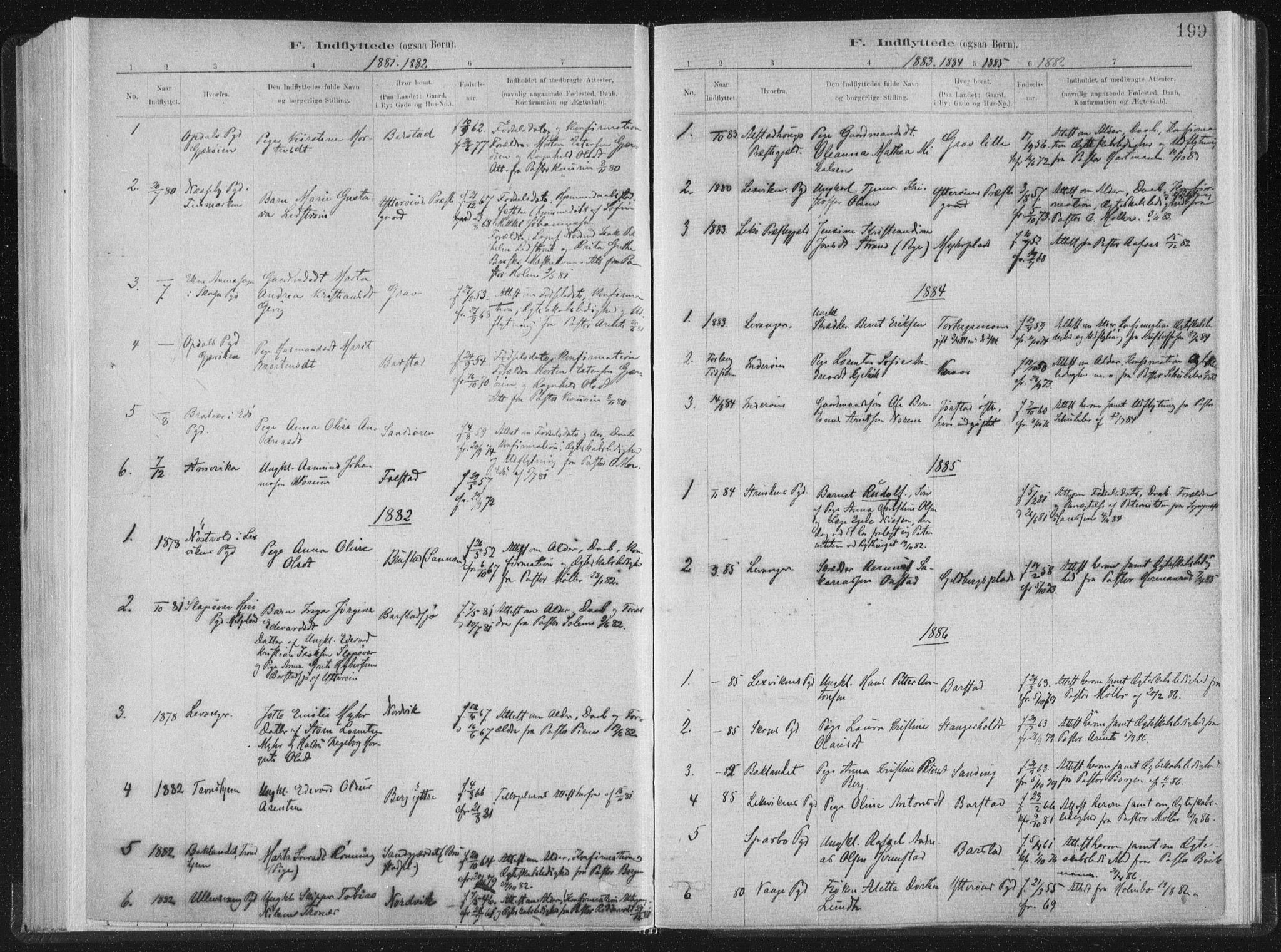 SAT, Ministerialprotokoller, klokkerbøker og fødselsregistre - Nord-Trøndelag, 722/L0220: Ministerialbok nr. 722A07, 1881-1908, s. 199