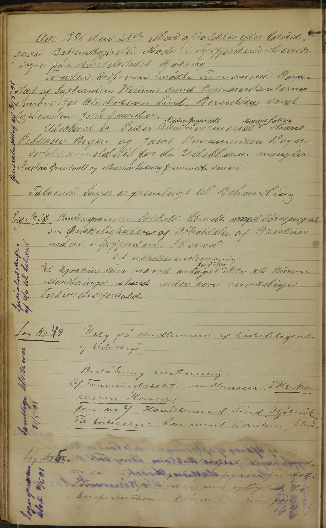 AIN, Tysfjord kommune. Formannskapet, 100/L0002: Forhandlingsprotokoll for Tysfjordens formandskap, 1895-1912