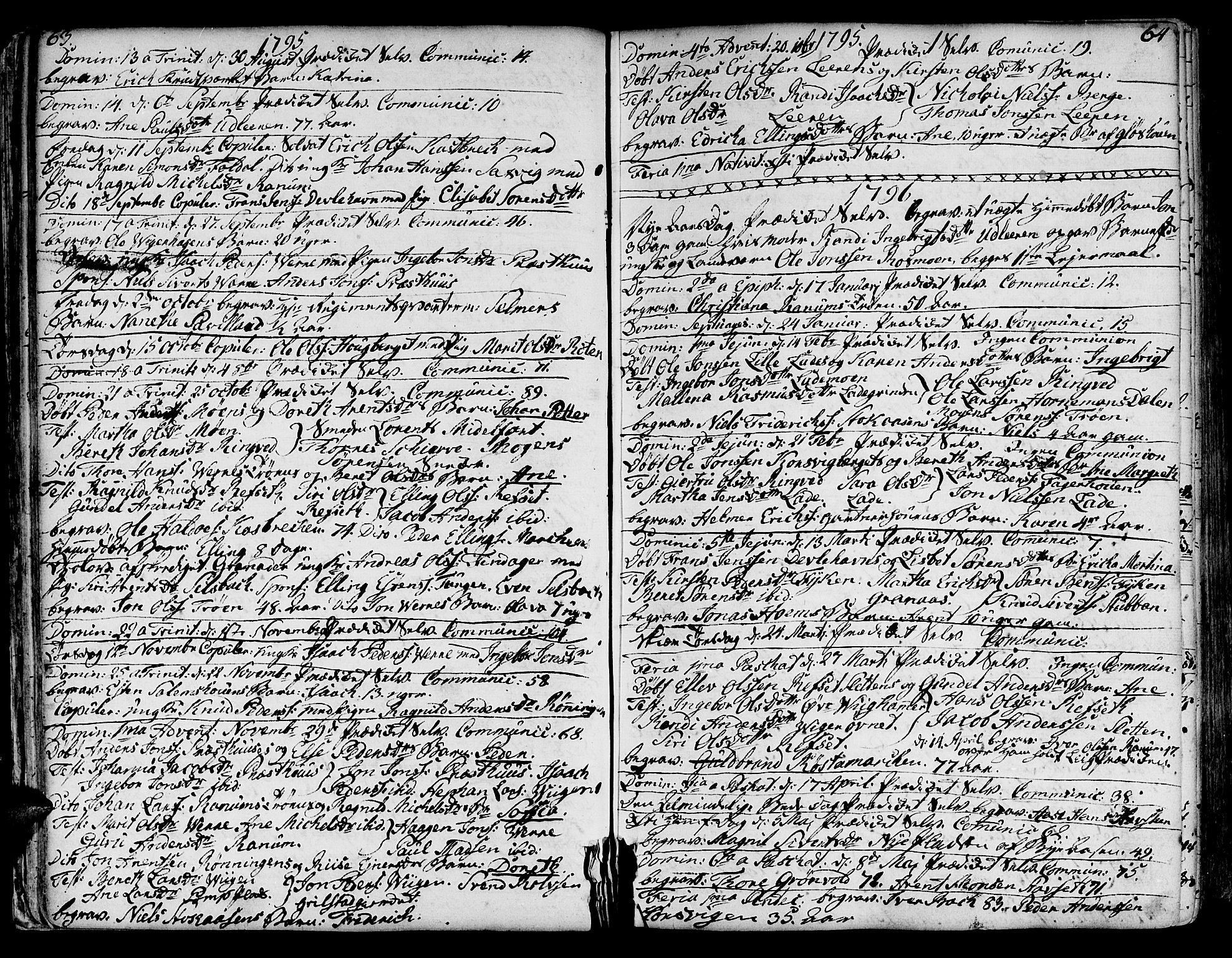 SAT, Ministerialprotokoller, klokkerbøker og fødselsregistre - Sør-Trøndelag, 606/L0280: Ministerialbok nr. 606A02 /1, 1781-1817, s. 63-64
