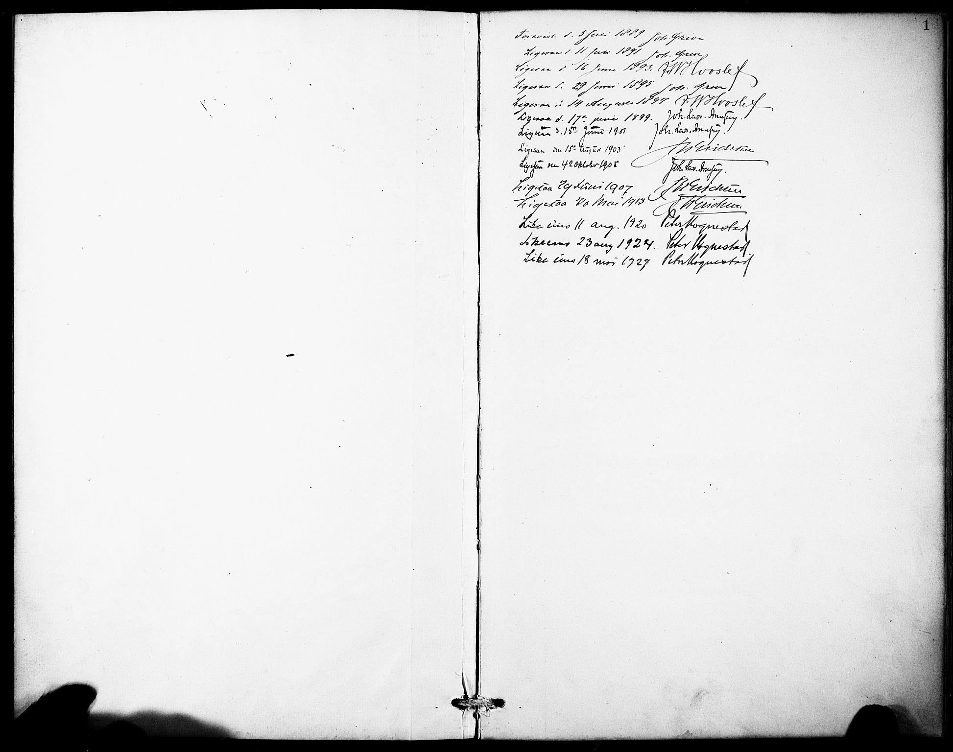 SAB, Aurland Sokneprestembete*, Klokkerbok nr. B 2, 1887-1929, s. 1