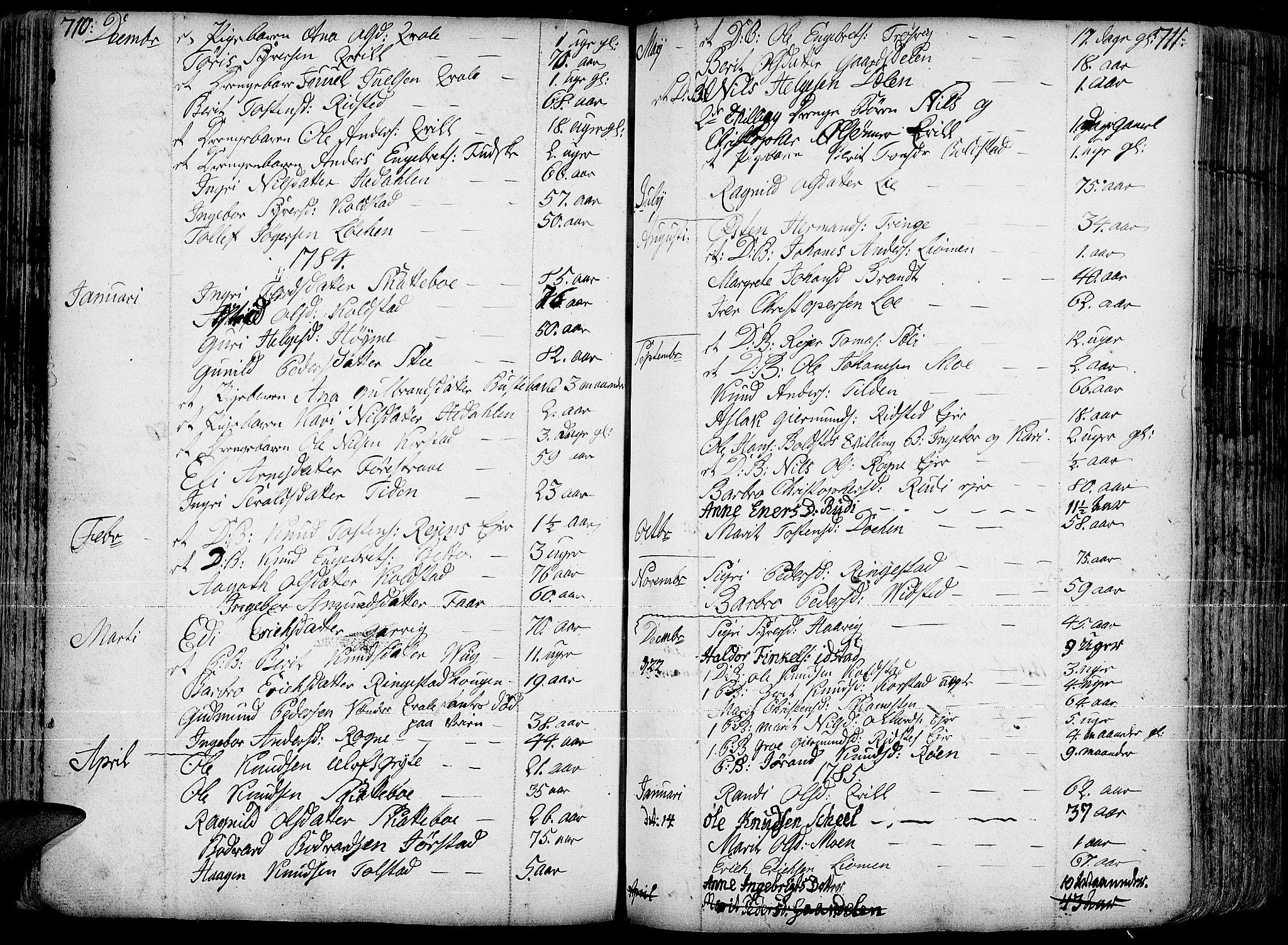 SAH, Slidre prestekontor, Ministerialbok nr. 1, 1724-1814, s. 710-711