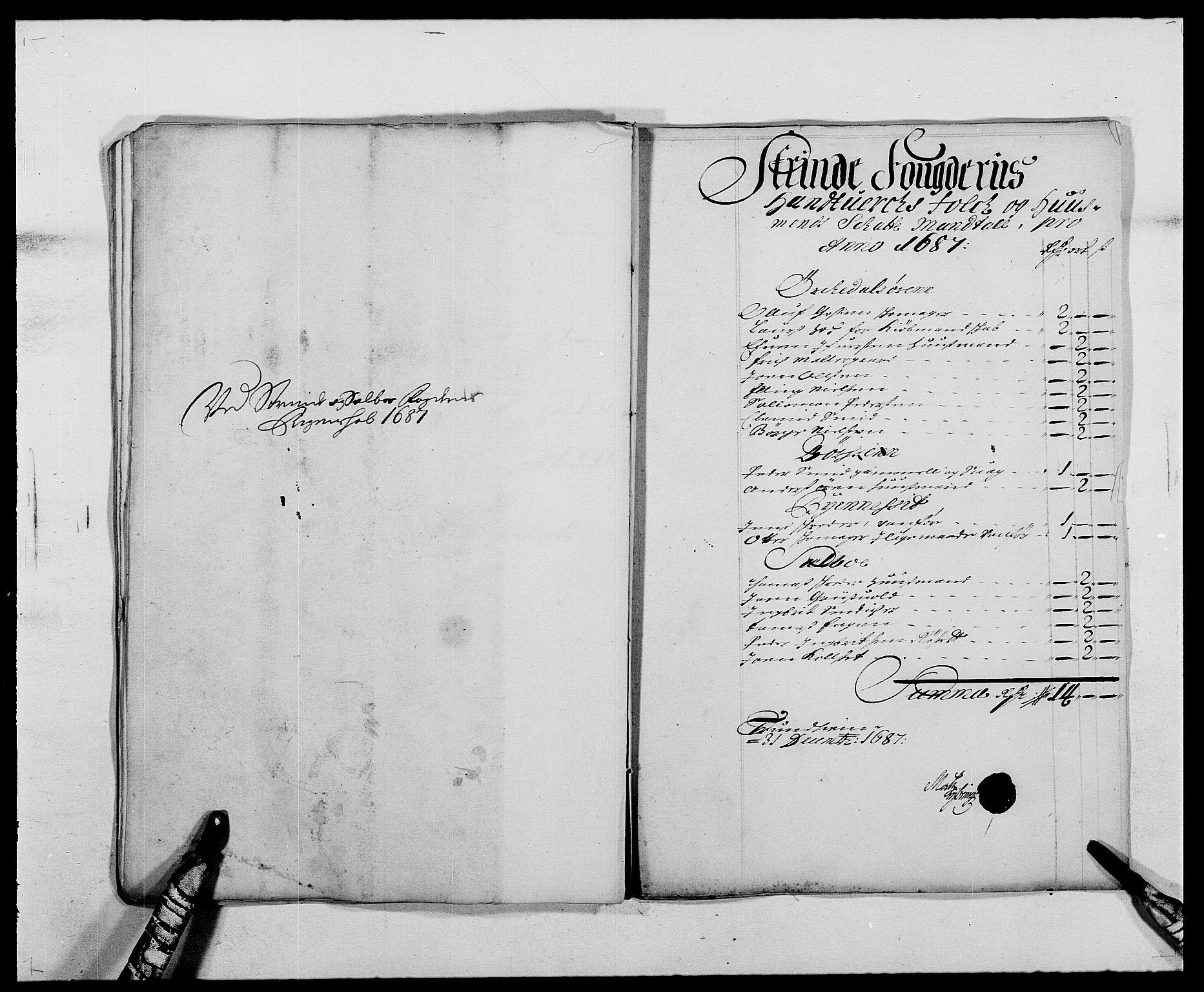RA, Rentekammeret inntil 1814, Reviderte regnskaper, Fogderegnskap, R61/L4101: Fogderegnskap Strinda og Selbu, 1687-1688, s. 58