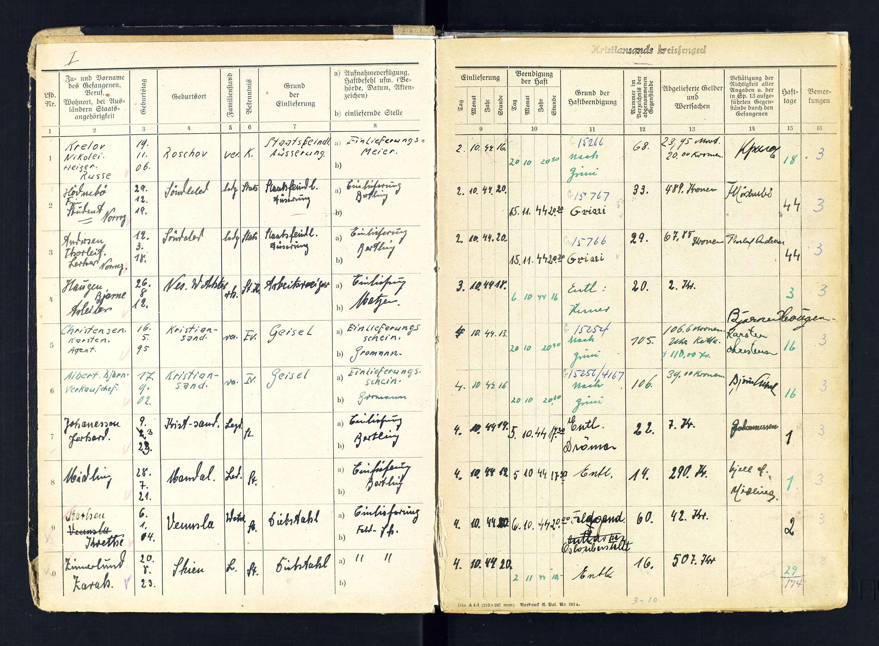SAK, Kristiansand kretsfengsel, G/Gc/L0008: Gefangenen-Buch B, arresterte, nr 48, 1944-1945, s. 1