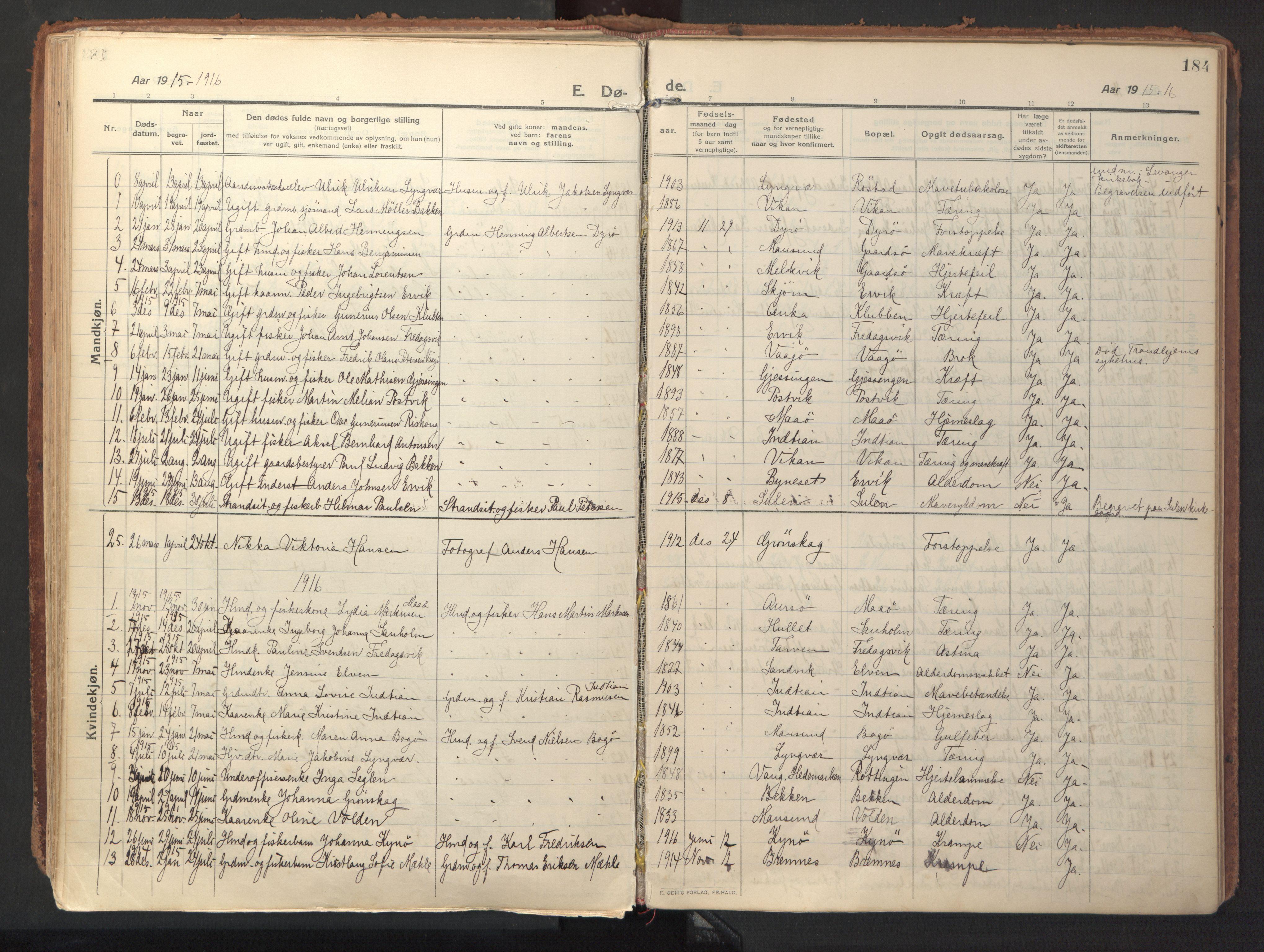 SAT, Ministerialprotokoller, klokkerbøker og fødselsregistre - Sør-Trøndelag, 640/L0581: Ministerialbok nr. 640A06, 1910-1924, s. 184