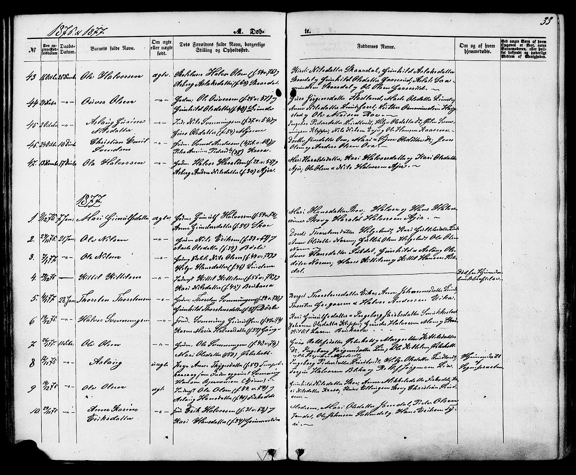 SAKO, Lunde kirkebøker, F/Fa/L0001: Ministerialbok nr. I 1, 1866-1883, s. 33