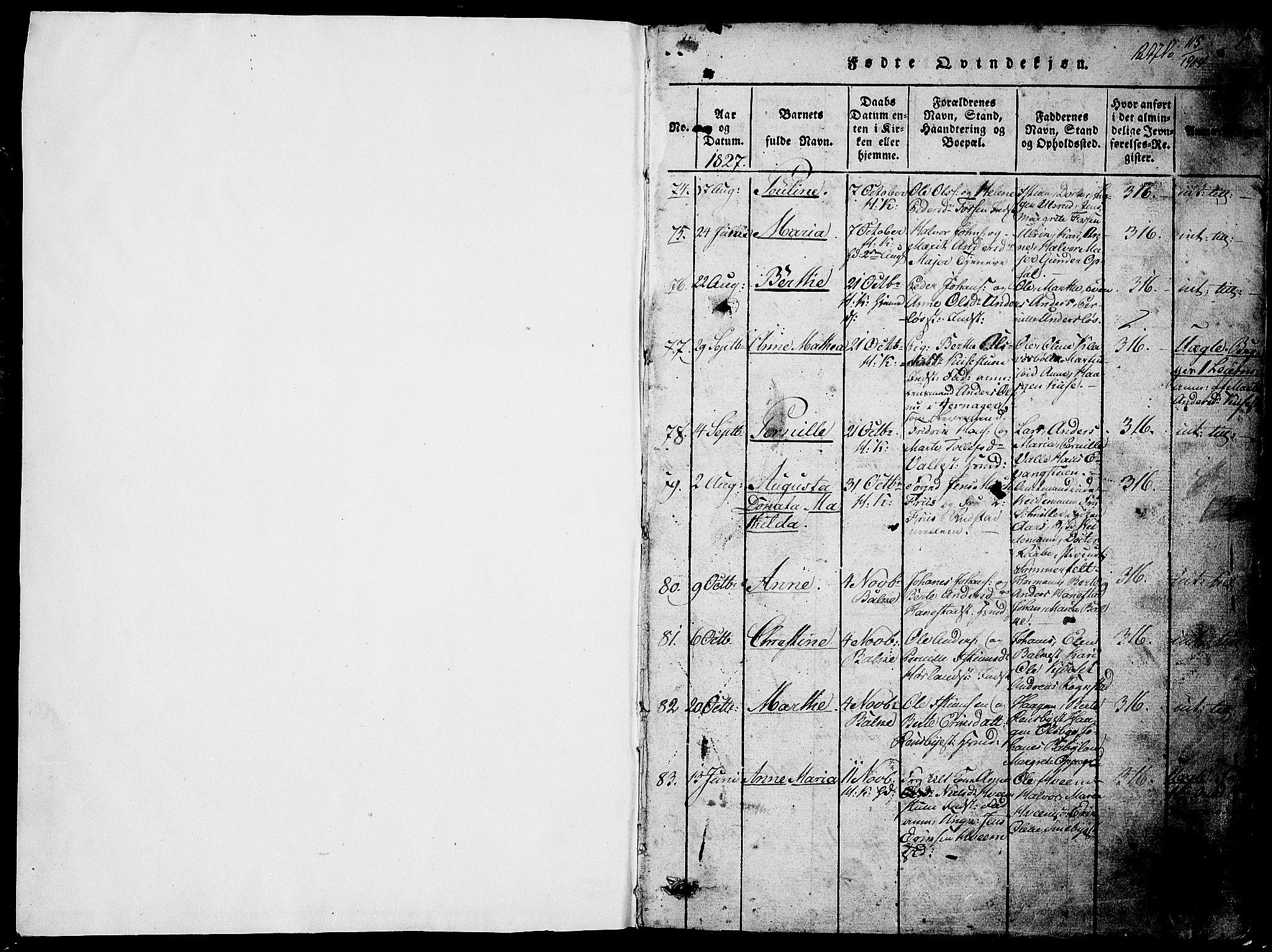 SAH, Østre Toten prestekontor, Klokkerbok nr. 1, 1827-1839, s. 1