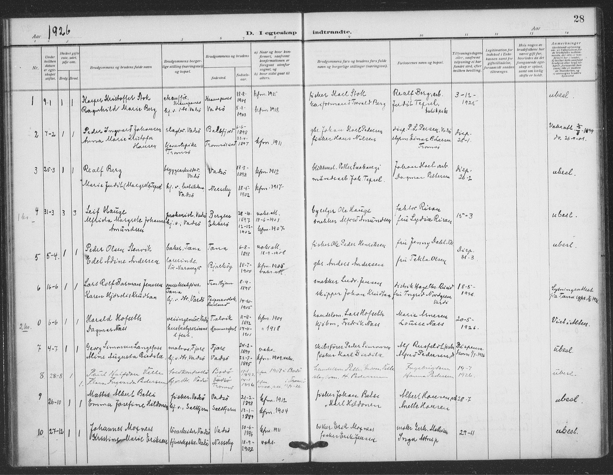 SATØ, Vadsø sokneprestkontor, H/Ha/L0008kirke: Ministerialbok nr. 8, 1912-1930, s. 28