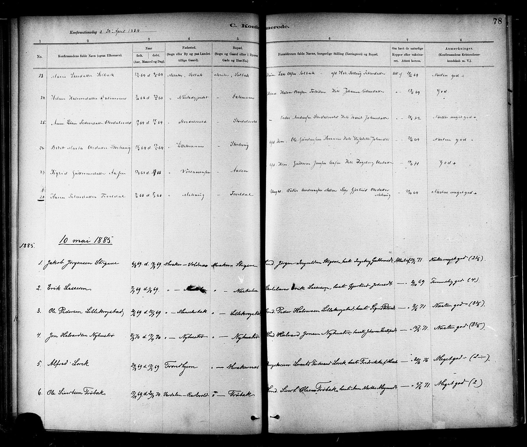 SAT, Ministerialprotokoller, klokkerbøker og fødselsregistre - Nord-Trøndelag, 706/L0047: Ministerialbok nr. 706A03, 1878-1892, s. 78