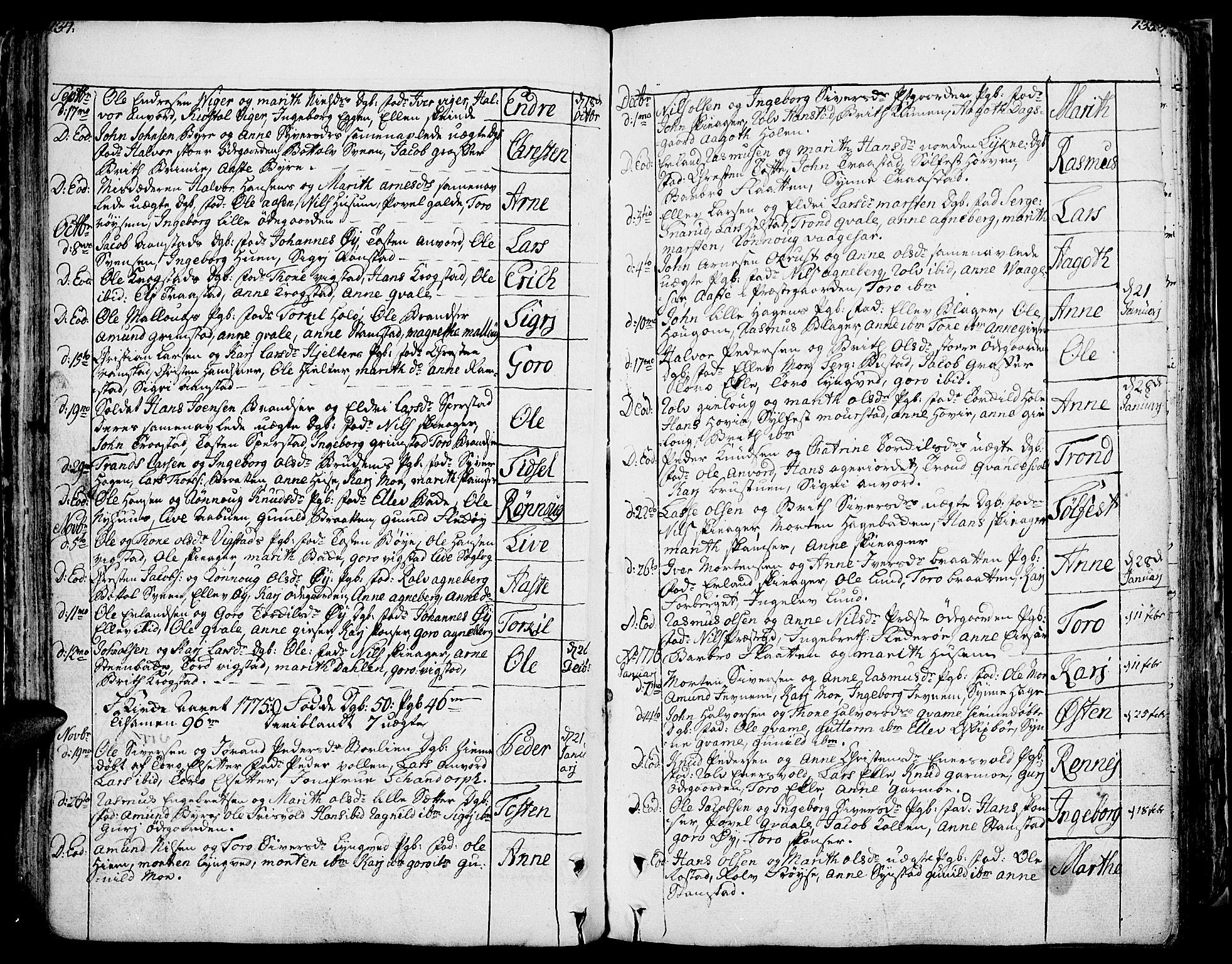 SAH, Lom prestekontor, K/L0002: Ministerialbok nr. 2, 1749-1801, s. 134-135