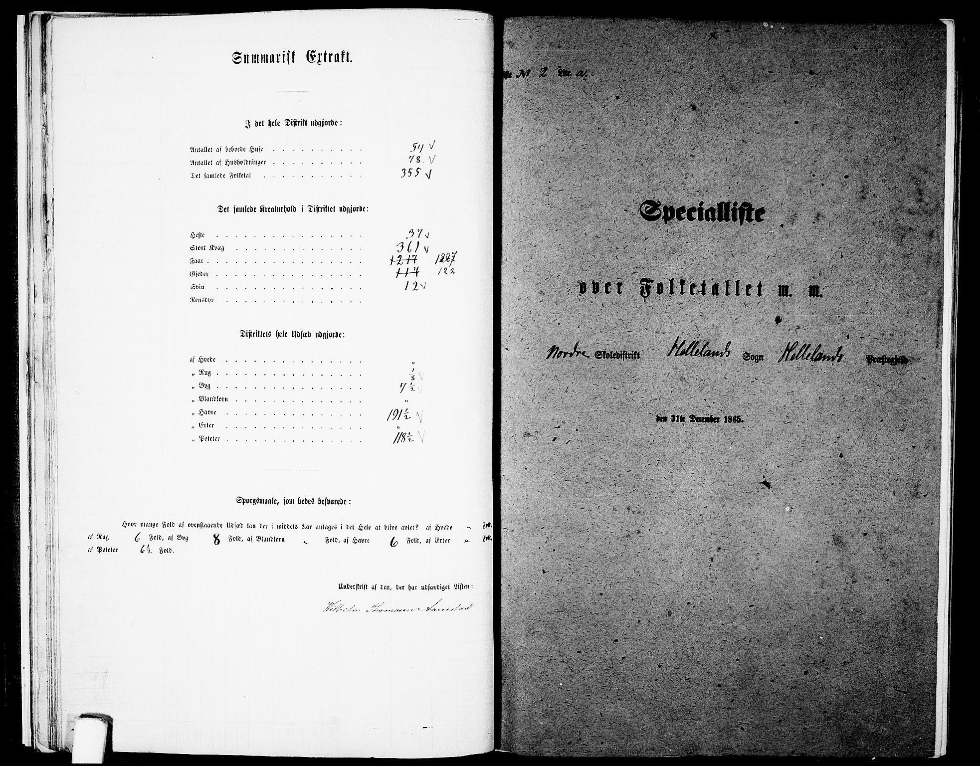 RA, Folketelling 1865 for 1115P Helleland prestegjeld, 1865, s. 24