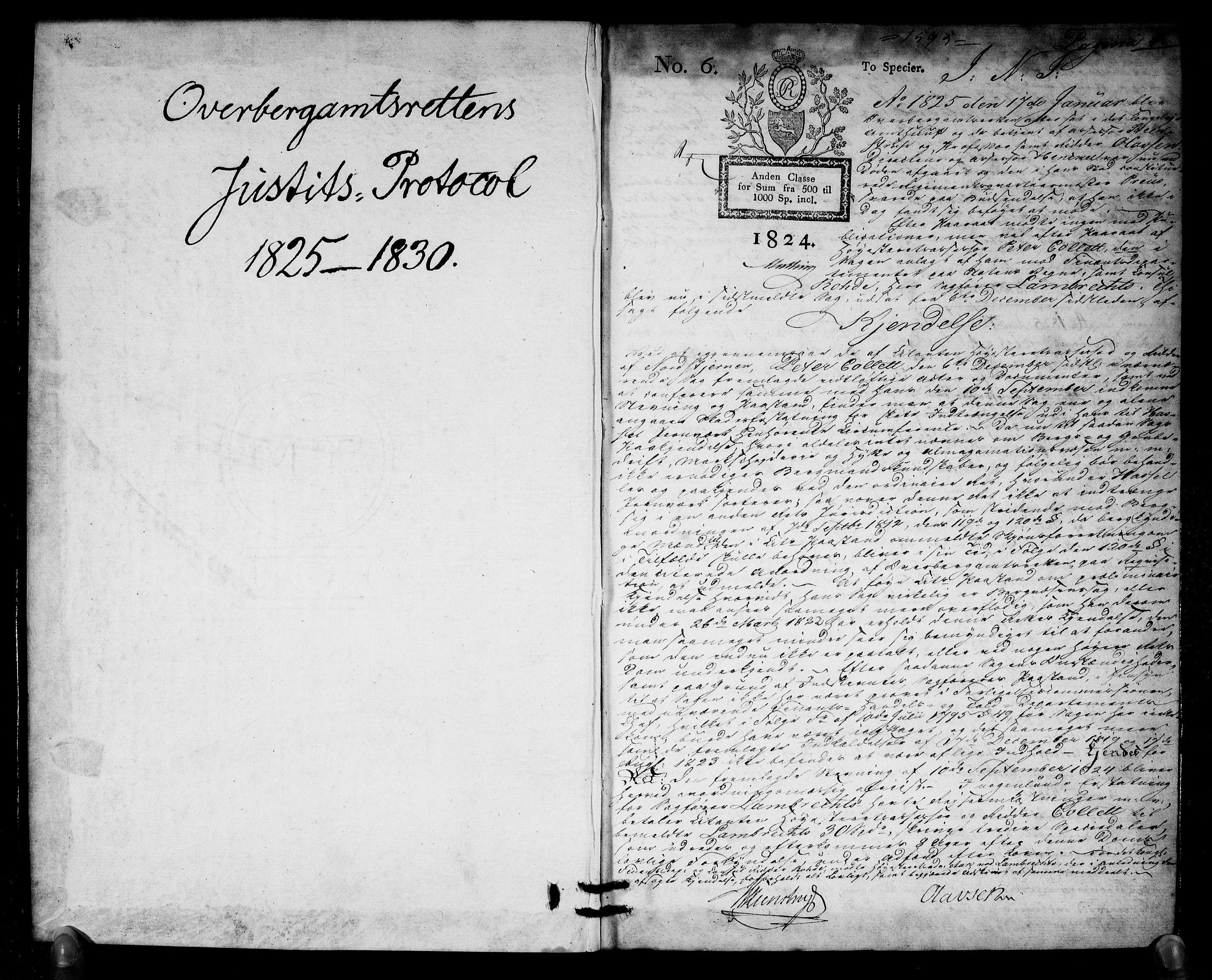 RA, Overbergamtet 1621-1830, K/Ka/L0007: Rettsprotokoll, 1825-1830, s. 0-1