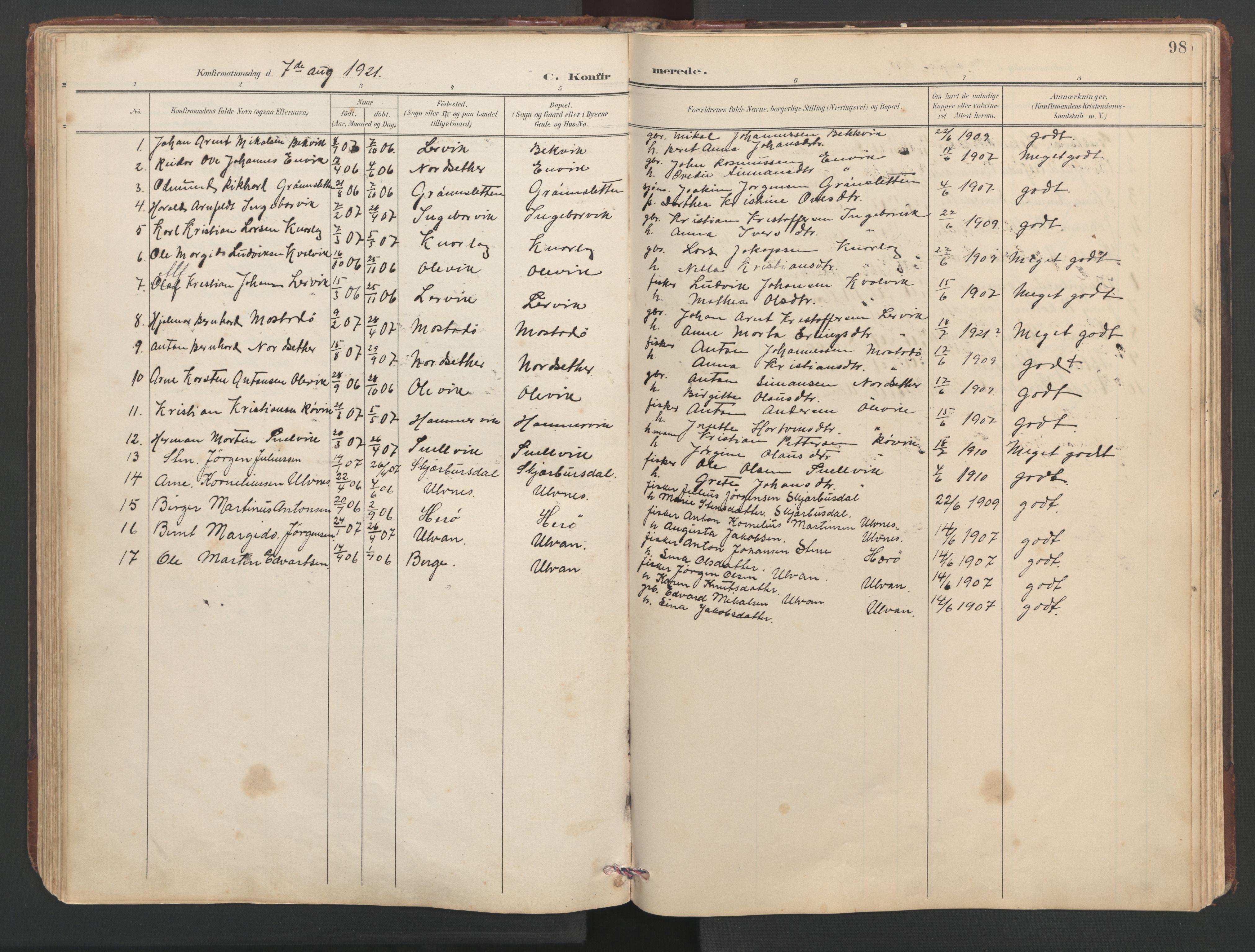 SAT, Ministerialprotokoller, klokkerbøker og fødselsregistre - Sør-Trøndelag, 638/L0571: Klokkerbok nr. 638C03, 1901-1930, s. 98