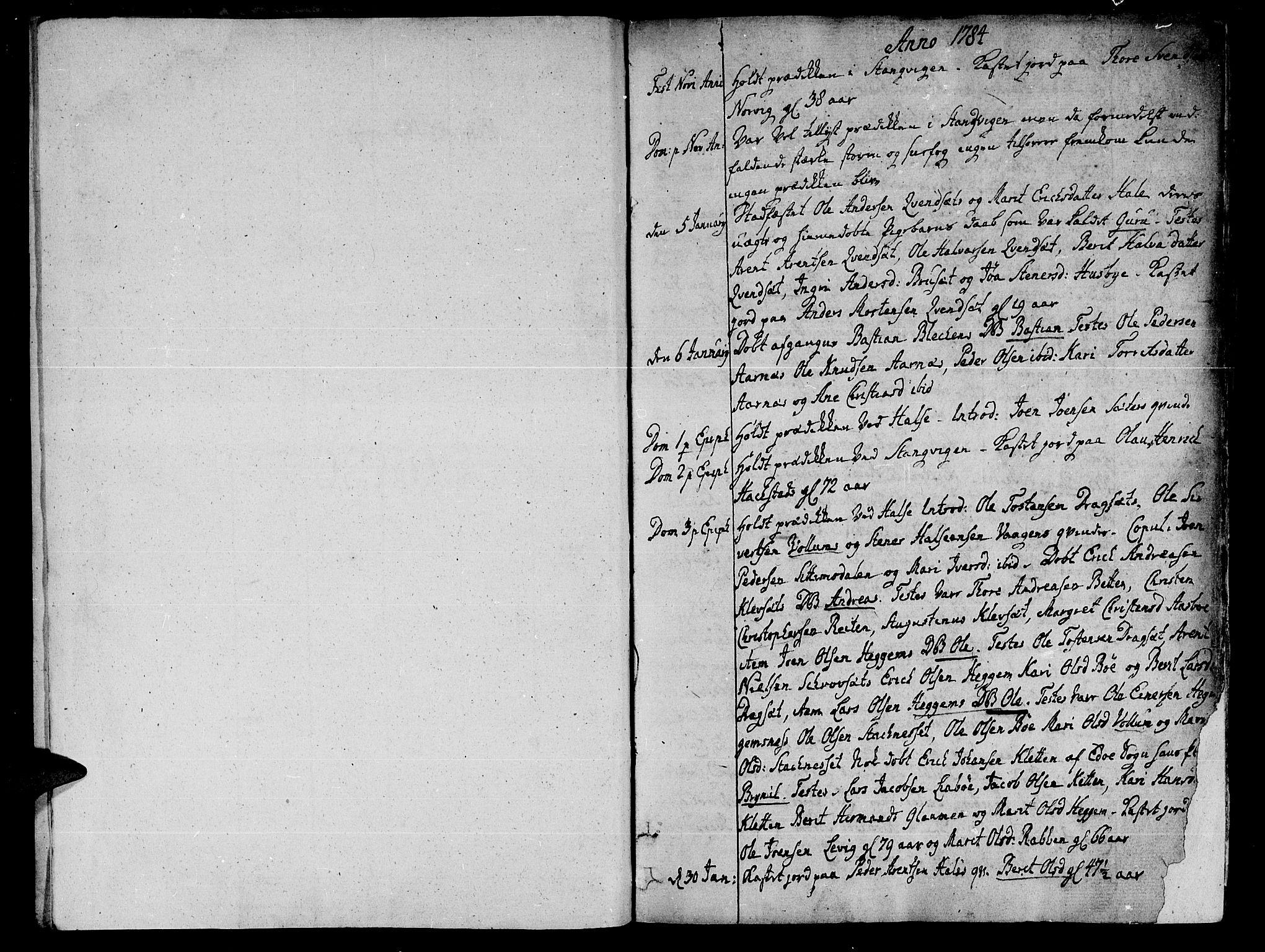 SAT, Ministerialprotokoller, klokkerbøker og fødselsregistre - Møre og Romsdal, 592/L1022: Ministerialbok nr. 592A01, 1784-1819, s. 1