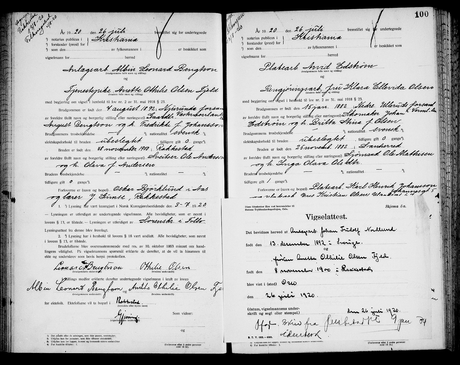 SAO, Oslo byfogd avd. I, L/Lb/Lbb/L0014: Notarialprotokoll, rekke II: Vigsler, 1920-1921, s. 99b-100a