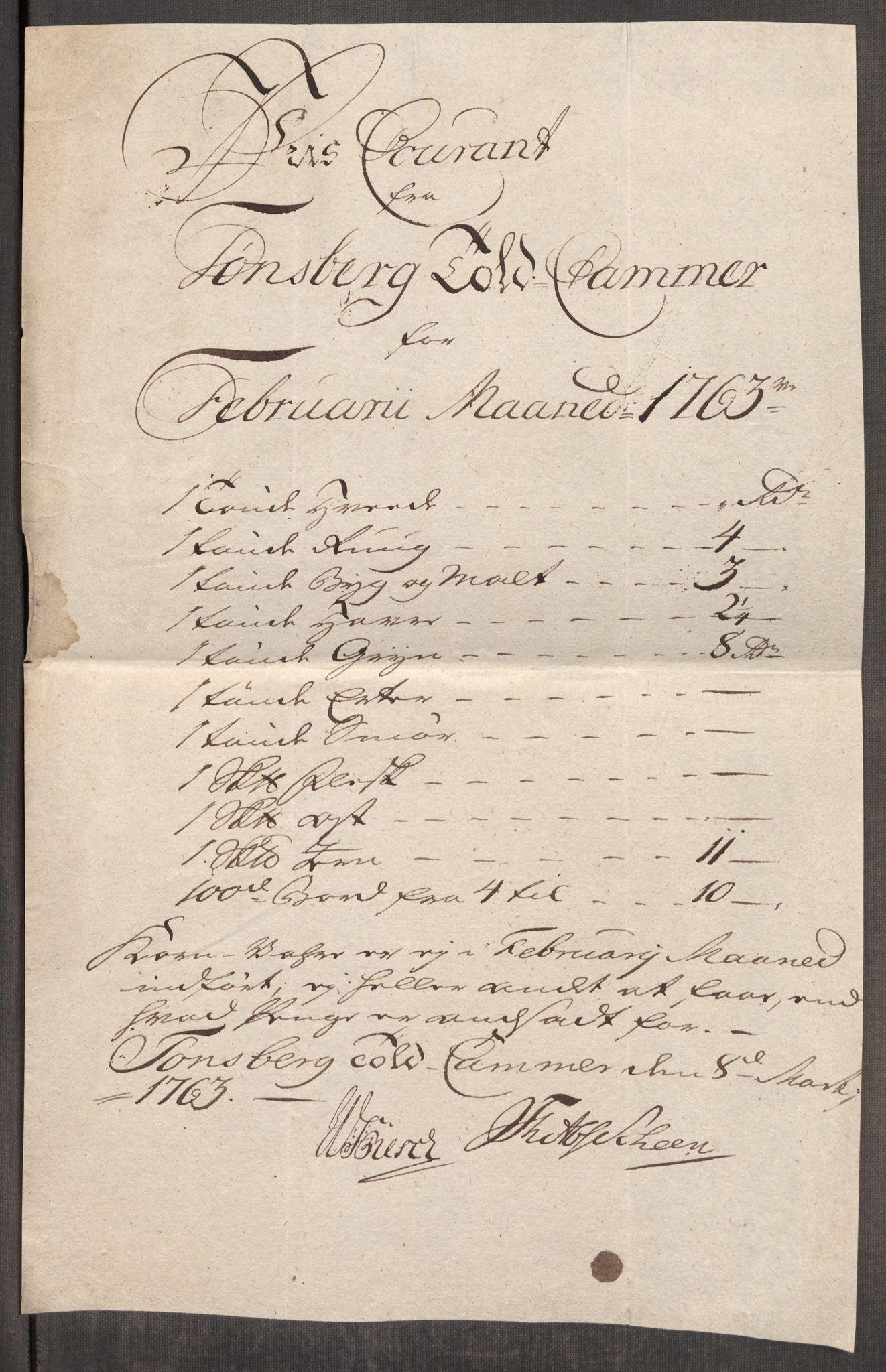 RA, Rentekammeret inntil 1814, Realistisk ordnet avdeling, Oe/L0007: [Ø1]: Priskuranter, 1761-1763, s. 655
