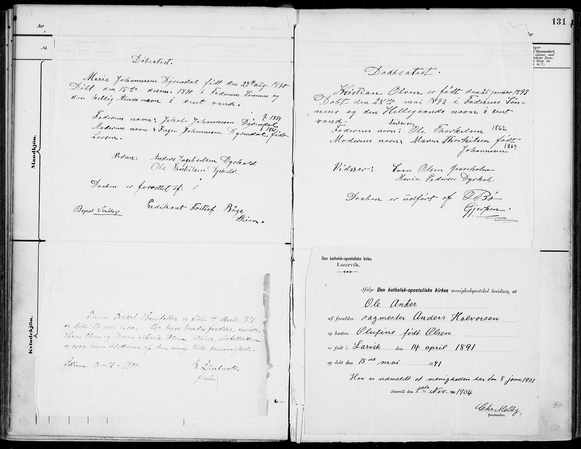SAKO, Gjerpen kirkebøker, F/Fa/L0011: Ministerialbok nr. 11, 1896-1904, s. 131