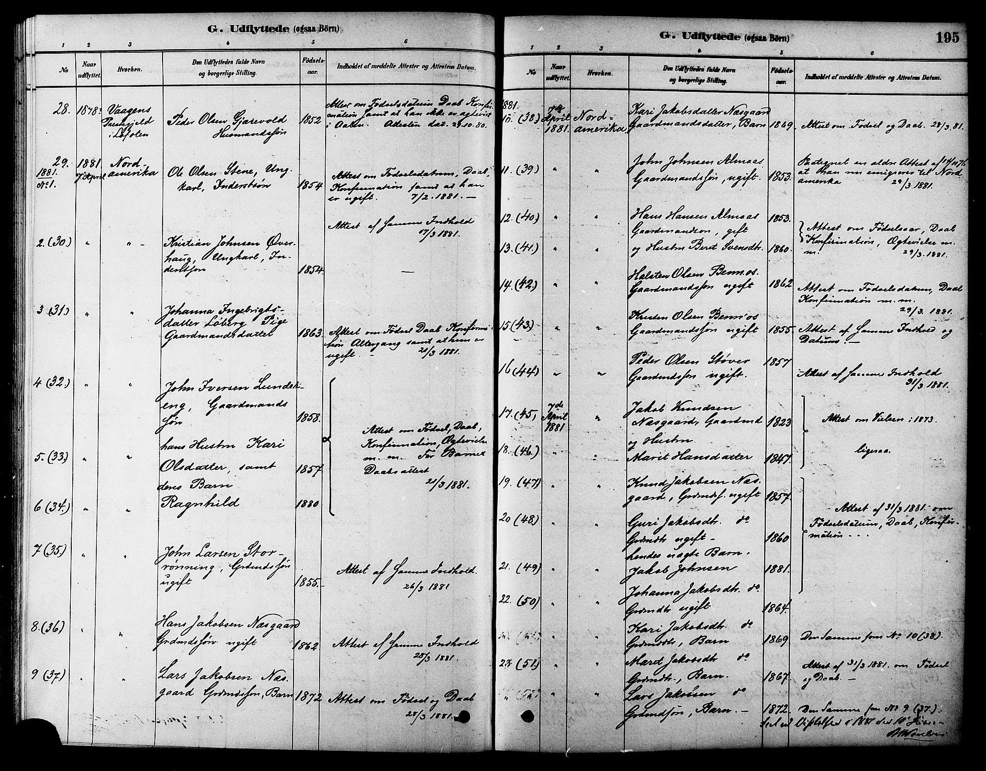 SAT, Ministerialprotokoller, klokkerbøker og fødselsregistre - Sør-Trøndelag, 686/L0983: Ministerialbok nr. 686A01, 1879-1890, s. 195