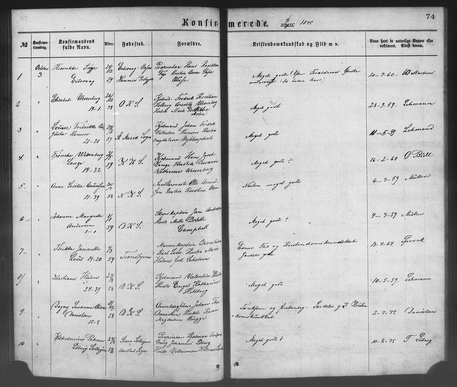 SAB, Korskirken Sokneprestembete, H/Haa/L0028: Ministerialbok nr. C 4, 1868-1879, s. 74