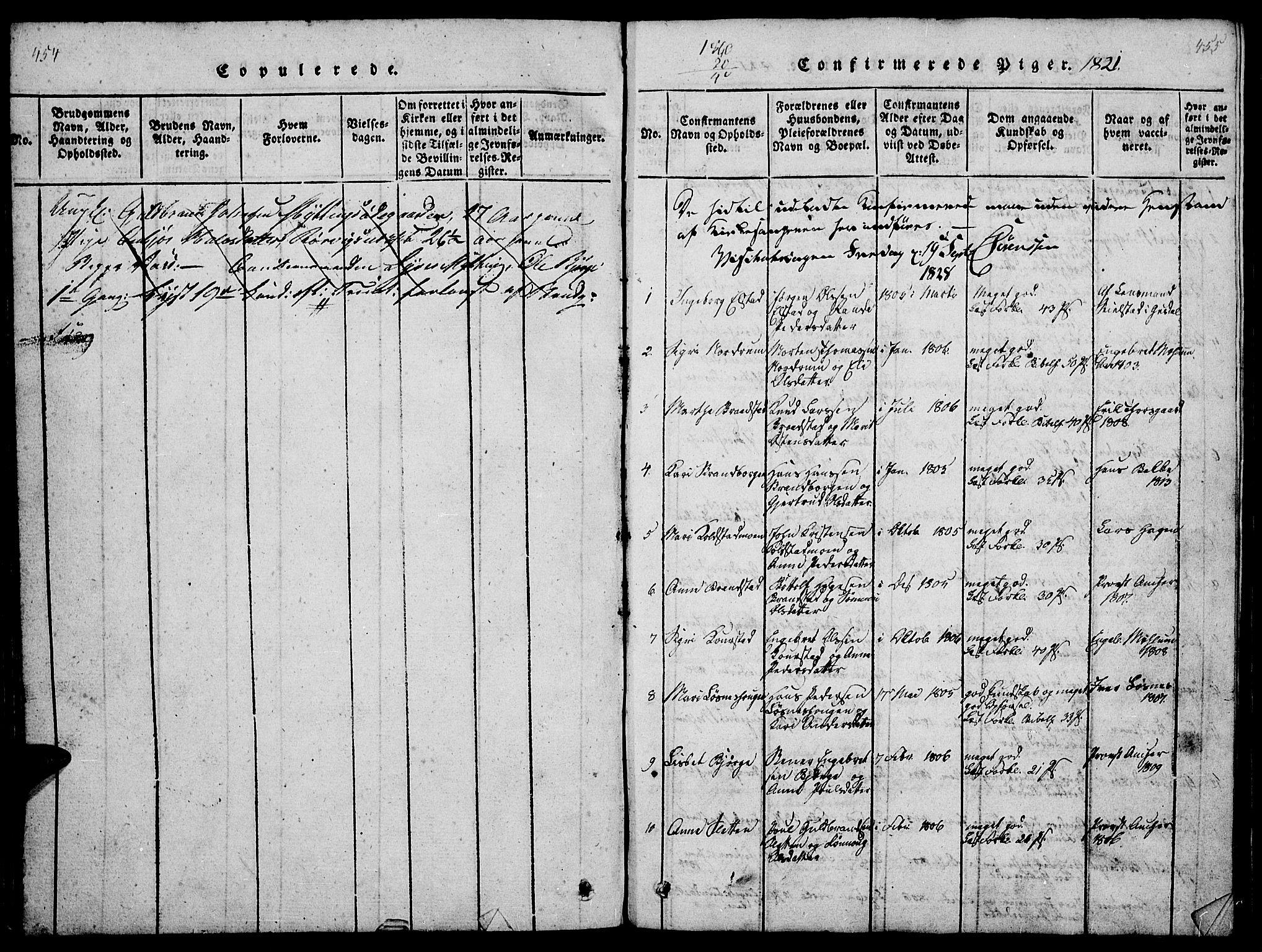 SAH, Ringebu prestekontor, Klokkerbok nr. 1, 1821-1839, s. 454-455