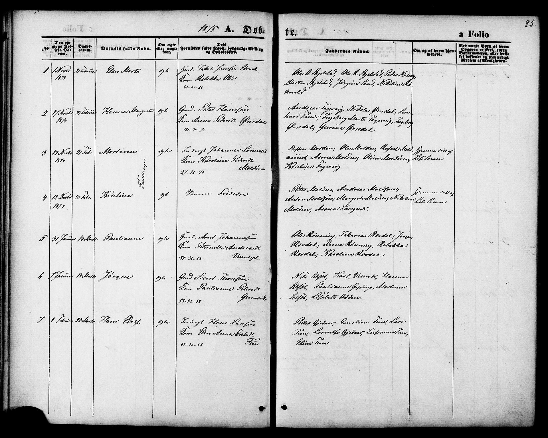 SAT, Ministerialprotokoller, klokkerbøker og fødselsregistre - Nord-Trøndelag, 744/L0419: Ministerialbok nr. 744A03, 1867-1881, s. 25