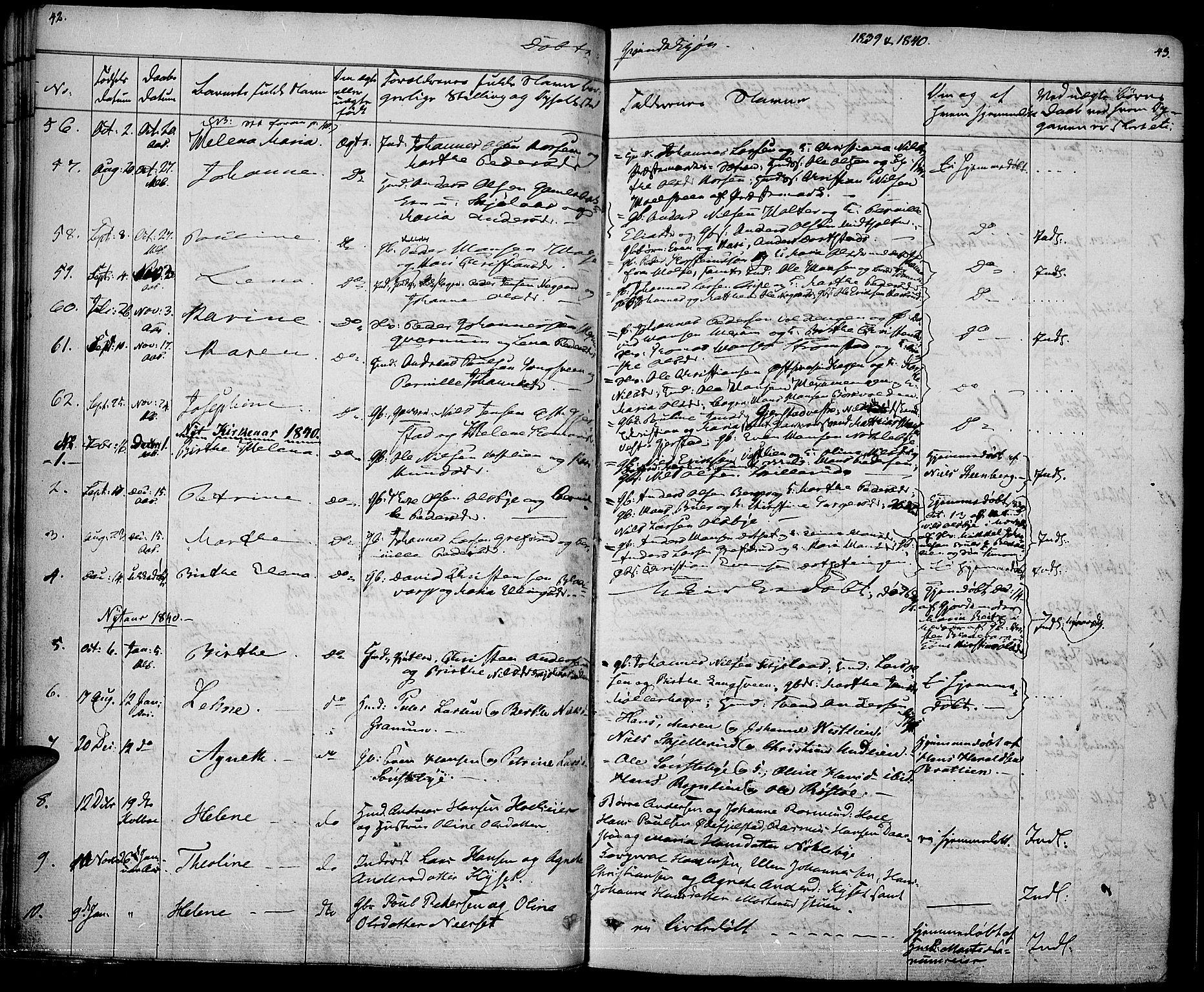 SAH, Vestre Toten prestekontor, Ministerialbok nr. 3, 1836-1843, s. 42-43
