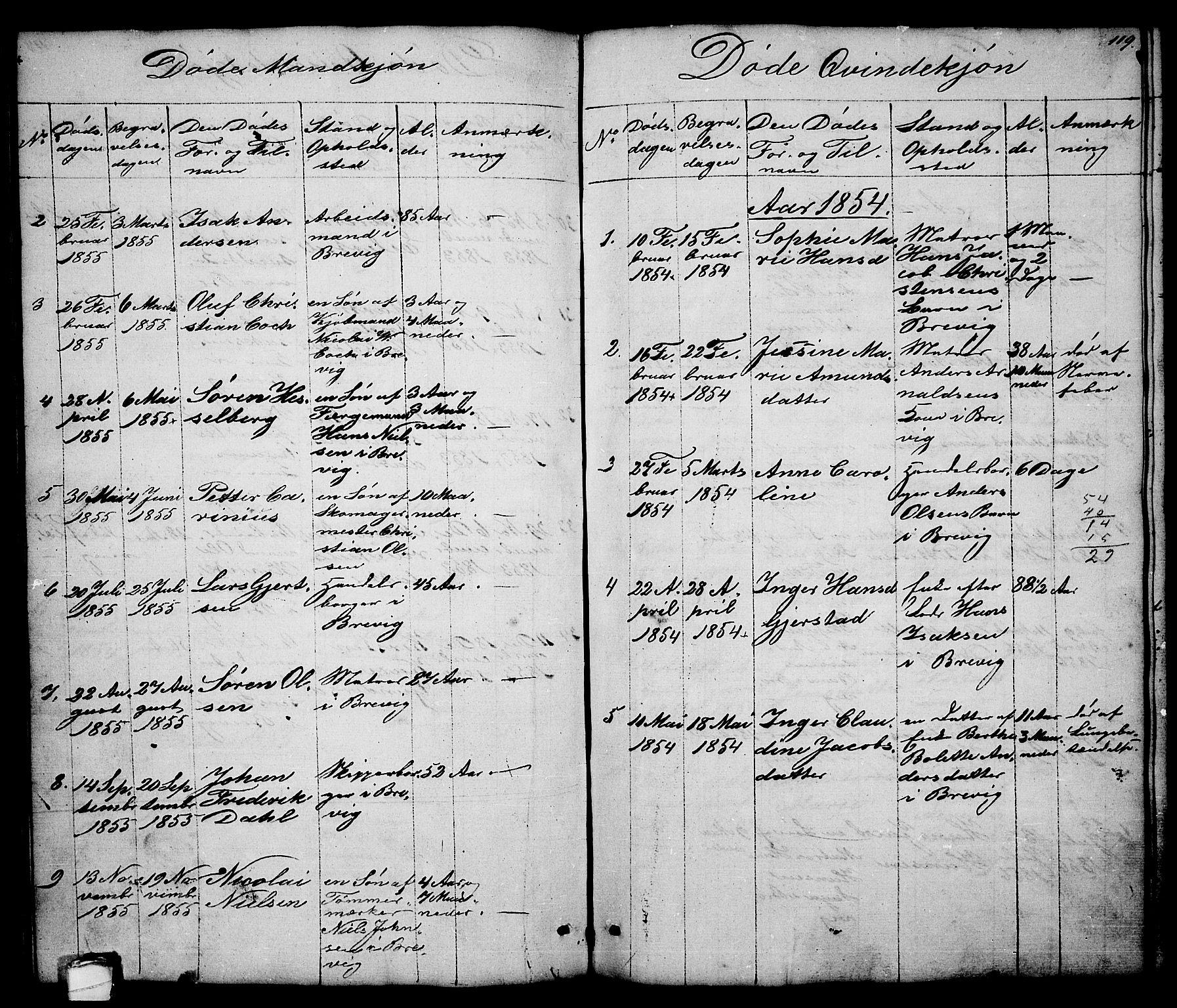 SAKO, Brevik kirkebøker, G/Ga/L0002: Klokkerbok nr. 2, 1846-1865, s. 119