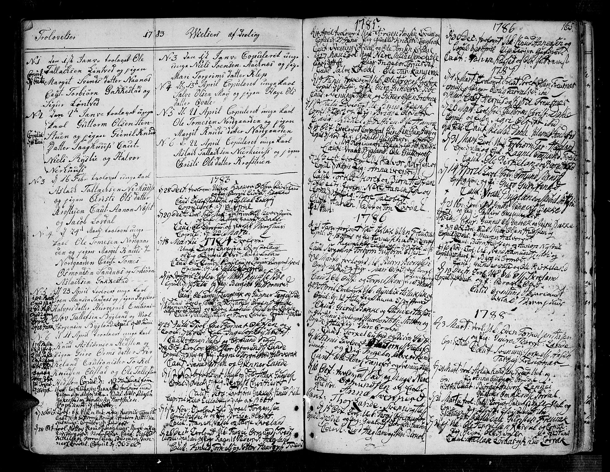 SAK, Bygland sokneprestkontor, F/Fa/Fab/L0002: Ministerialbok nr. A 2, 1766-1816, s. 165