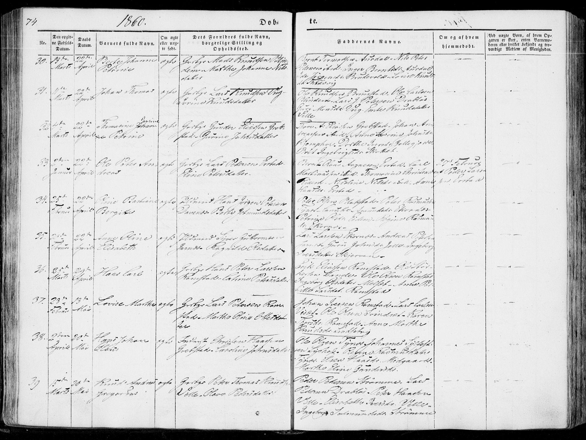 SAT, Ministerialprotokoller, klokkerbøker og fødselsregistre - Møre og Romsdal, 522/L0313: Ministerialbok nr. 522A08, 1852-1862, s. 74