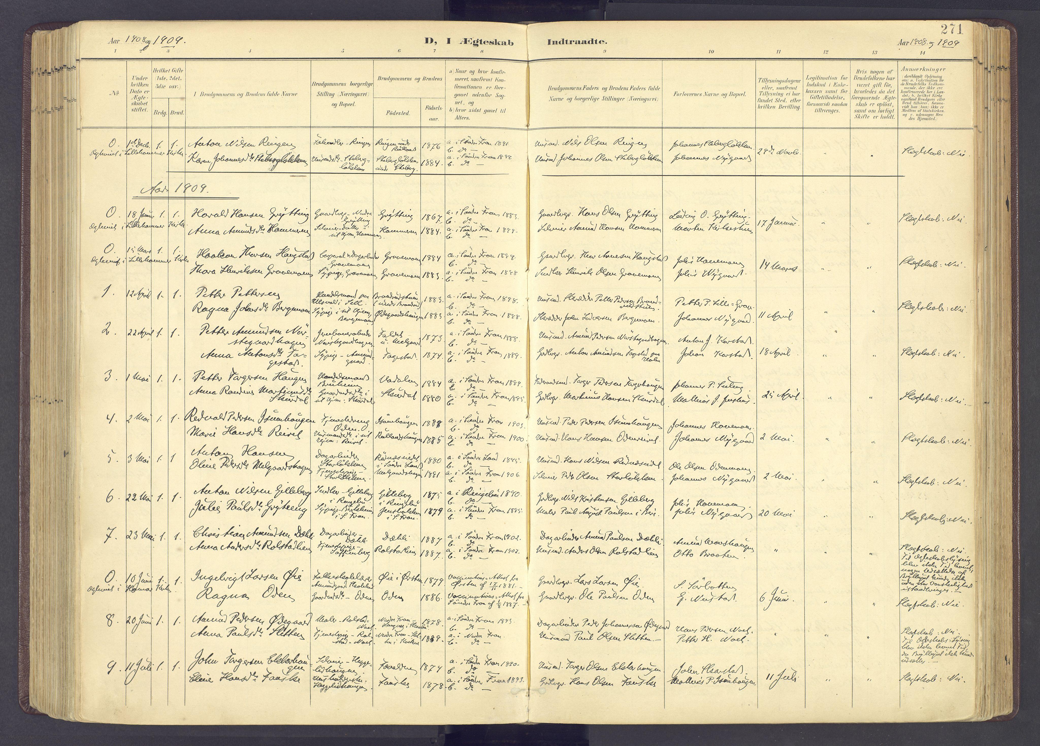 SAH, Sør-Fron prestekontor, H/Ha/Haa/L0004: Ministerialbok nr. 4, 1898-1919, s. 271