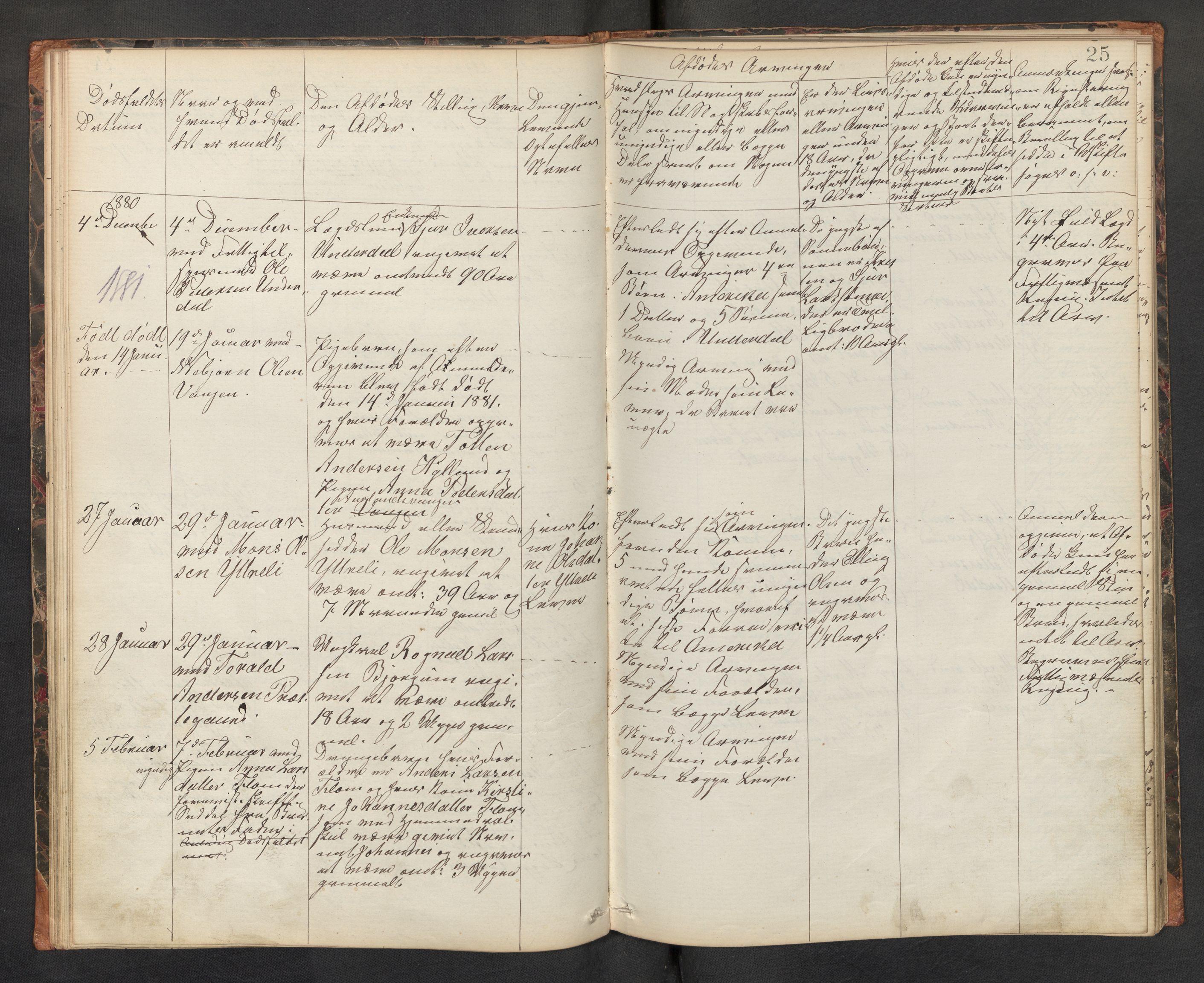 SAB, Lensmannen i Aurland, 0006/L0002: Dødsfallprotokoll, 1877-1892, s. 24b-25a