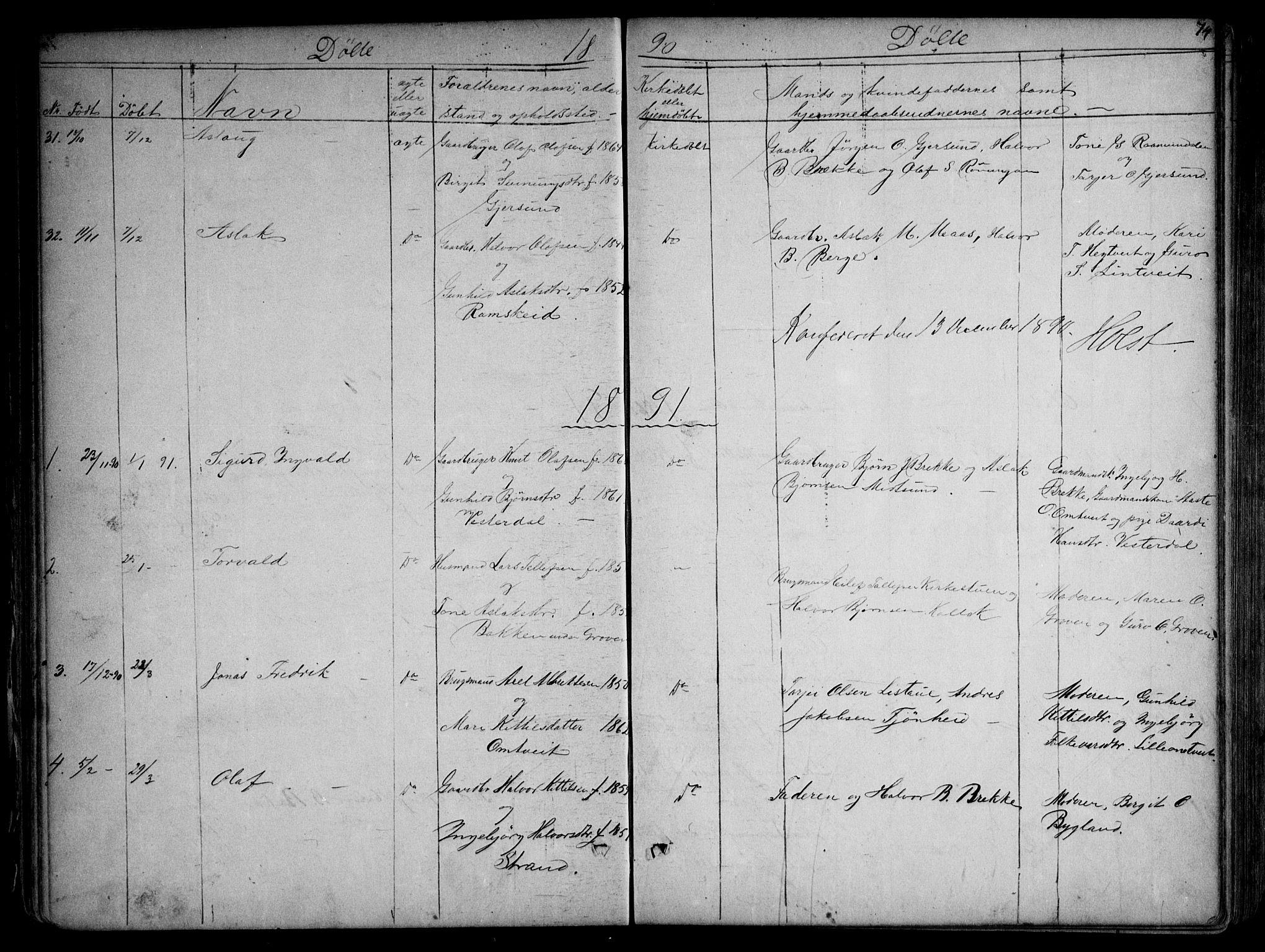 SAKO, Kviteseid kirkebøker, G/Gb/L0002: Klokkerbok nr. II 2, 1850-1892, s. 74