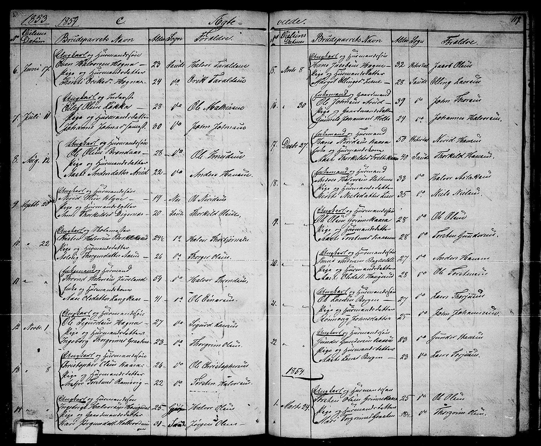 SAKO, Sauherad kirkebøker, G/Ga/L0002: Klokkerbok nr. I 2, 1842-1866, s. 119