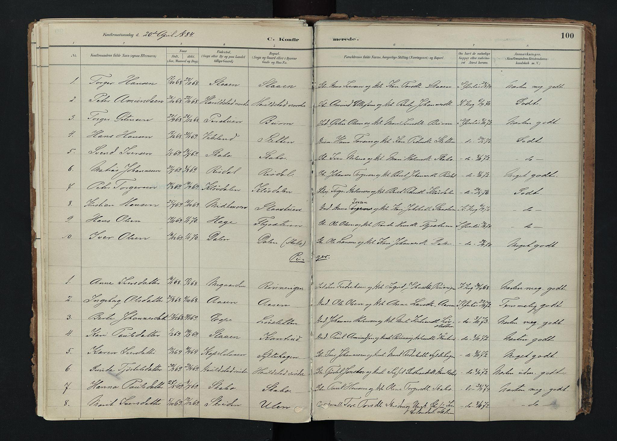 SAH, Nord-Fron prestekontor, Ministerialbok nr. 5, 1884-1914, s. 100