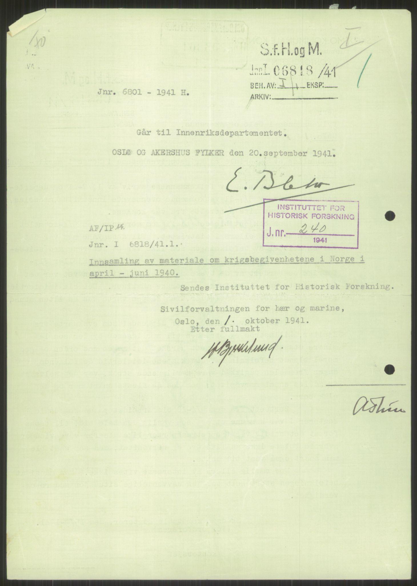 RA, Forsvaret, Forsvarets krigshistoriske avdeling, Y/Ya/L0013: II-C-11-31 - Fylkesmenn.  Rapporter om krigsbegivenhetene 1940., 1940, s. 828
