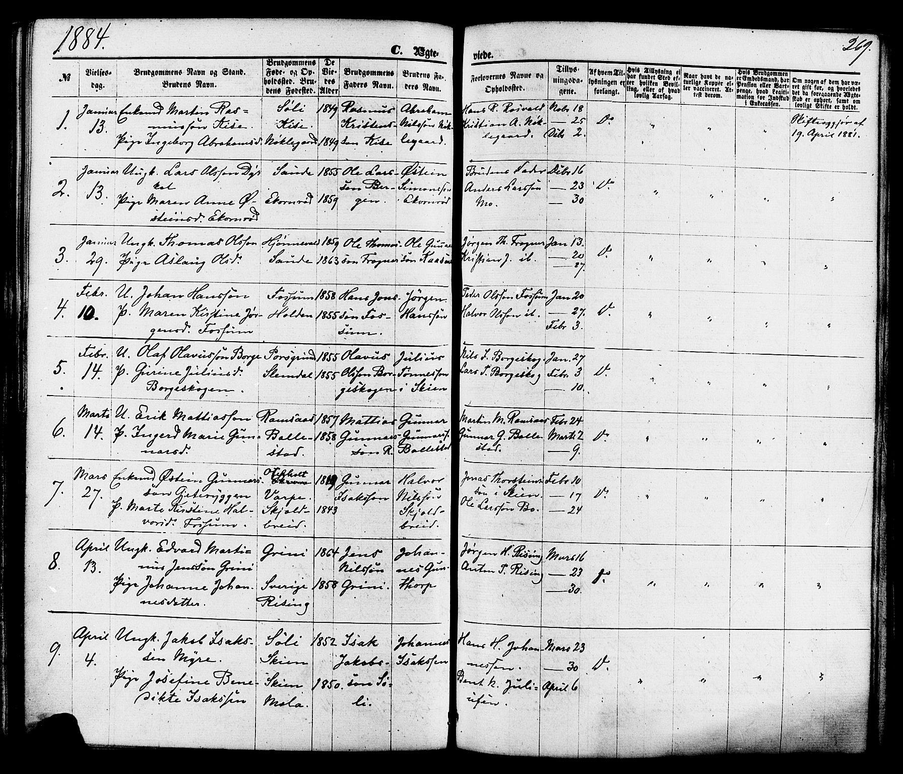 SAKO, Gjerpen kirkebøker, F/Fa/L0009: Ministerialbok nr. 9, 1872-1885, s. 269