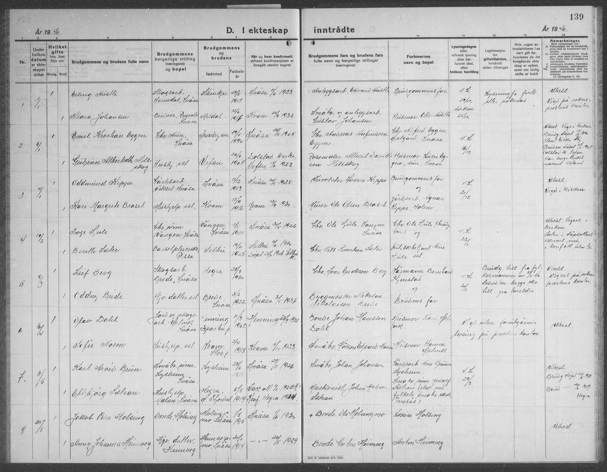 SAT, Ministerialprotokoller, klokkerbøker og fødselsregistre - Nord-Trøndelag, 749/L0481: Klokkerbok nr. 749C03, 1933-1945, s. 139