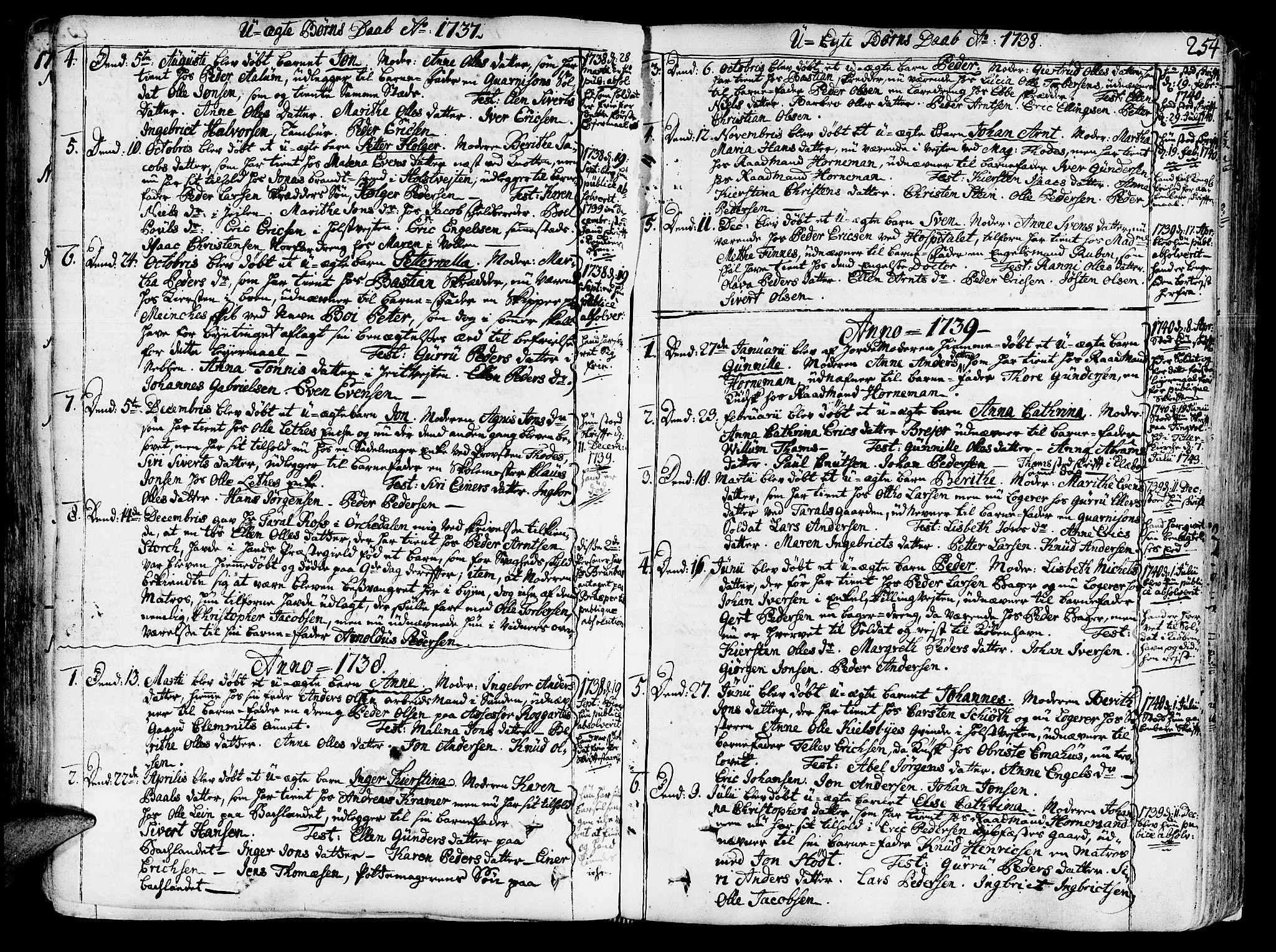 SAT, Ministerialprotokoller, klokkerbøker og fødselsregistre - Sør-Trøndelag, 602/L0103: Ministerialbok nr. 602A01, 1732-1774, s. 254