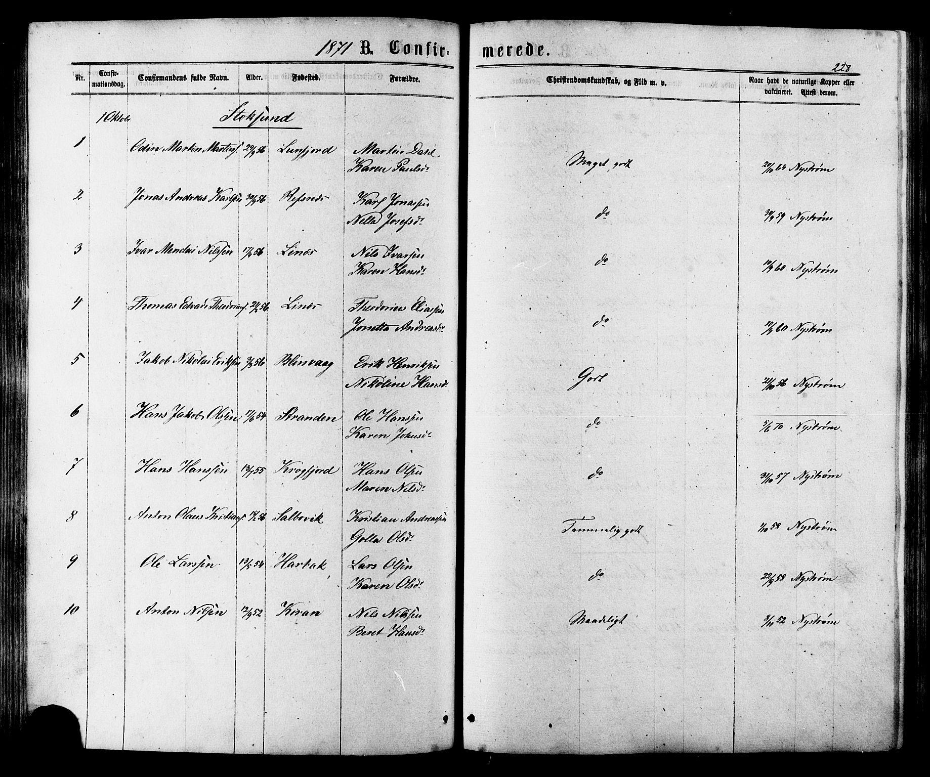 SAT, Ministerialprotokoller, klokkerbøker og fødselsregistre - Sør-Trøndelag, 657/L0706: Ministerialbok nr. 657A07, 1867-1878, s. 228