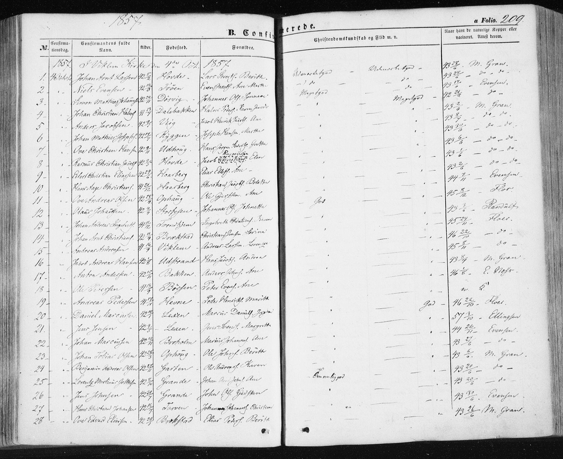 SAT, Ministerialprotokoller, klokkerbøker og fødselsregistre - Sør-Trøndelag, 659/L0737: Ministerialbok nr. 659A07, 1857-1875, s. 209