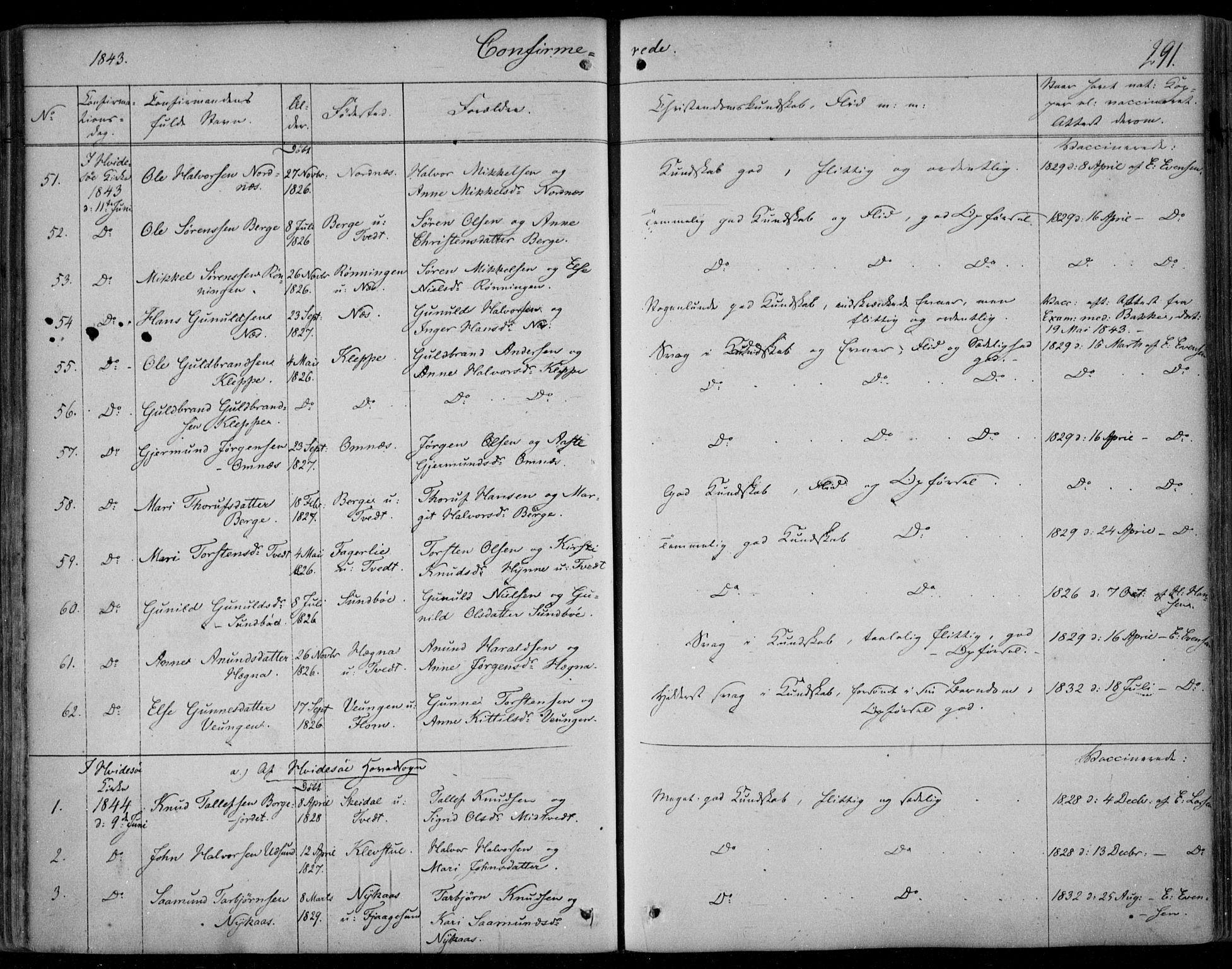 SAKO, Kviteseid kirkebøker, F/Fa/L0006: Ministerialbok nr. I 6, 1836-1858, s. 291