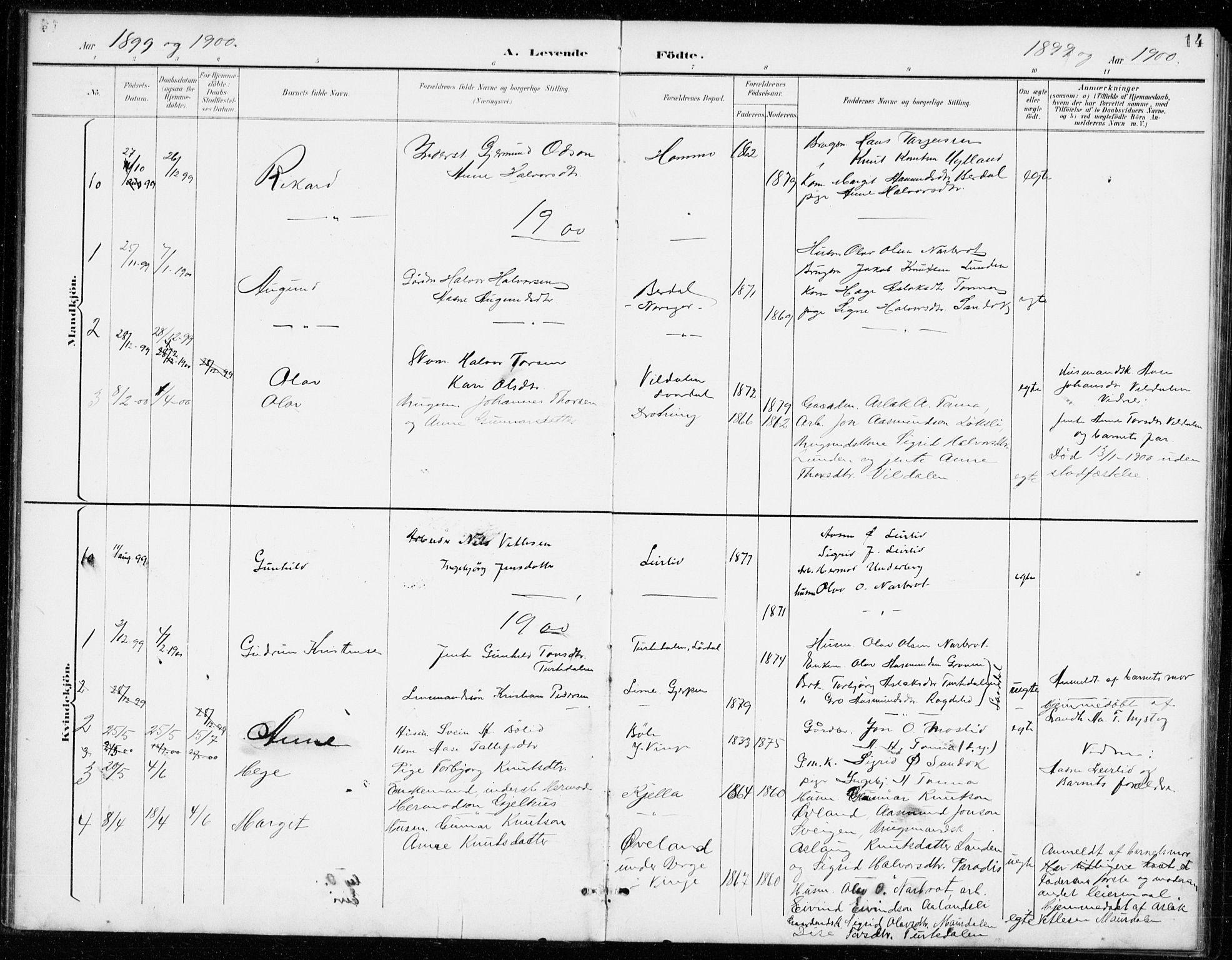 SAKO, Vinje kirkebøker, G/Gb/L0003: Klokkerbok nr. II 3, 1892-1943, s. 14