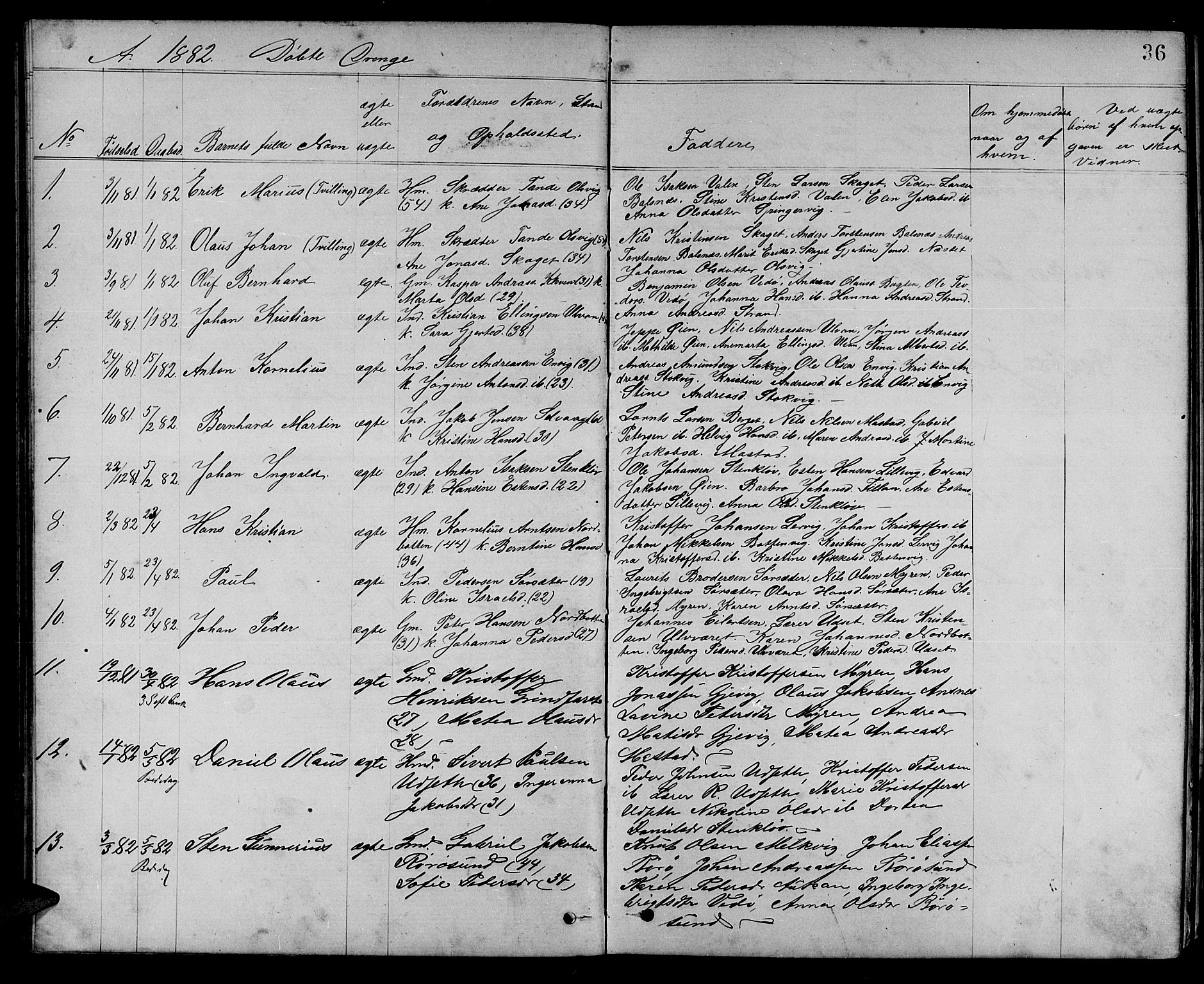 SAT, Ministerialprotokoller, klokkerbøker og fødselsregistre - Sør-Trøndelag, 637/L0561: Klokkerbok nr. 637C02, 1873-1882, s. 36