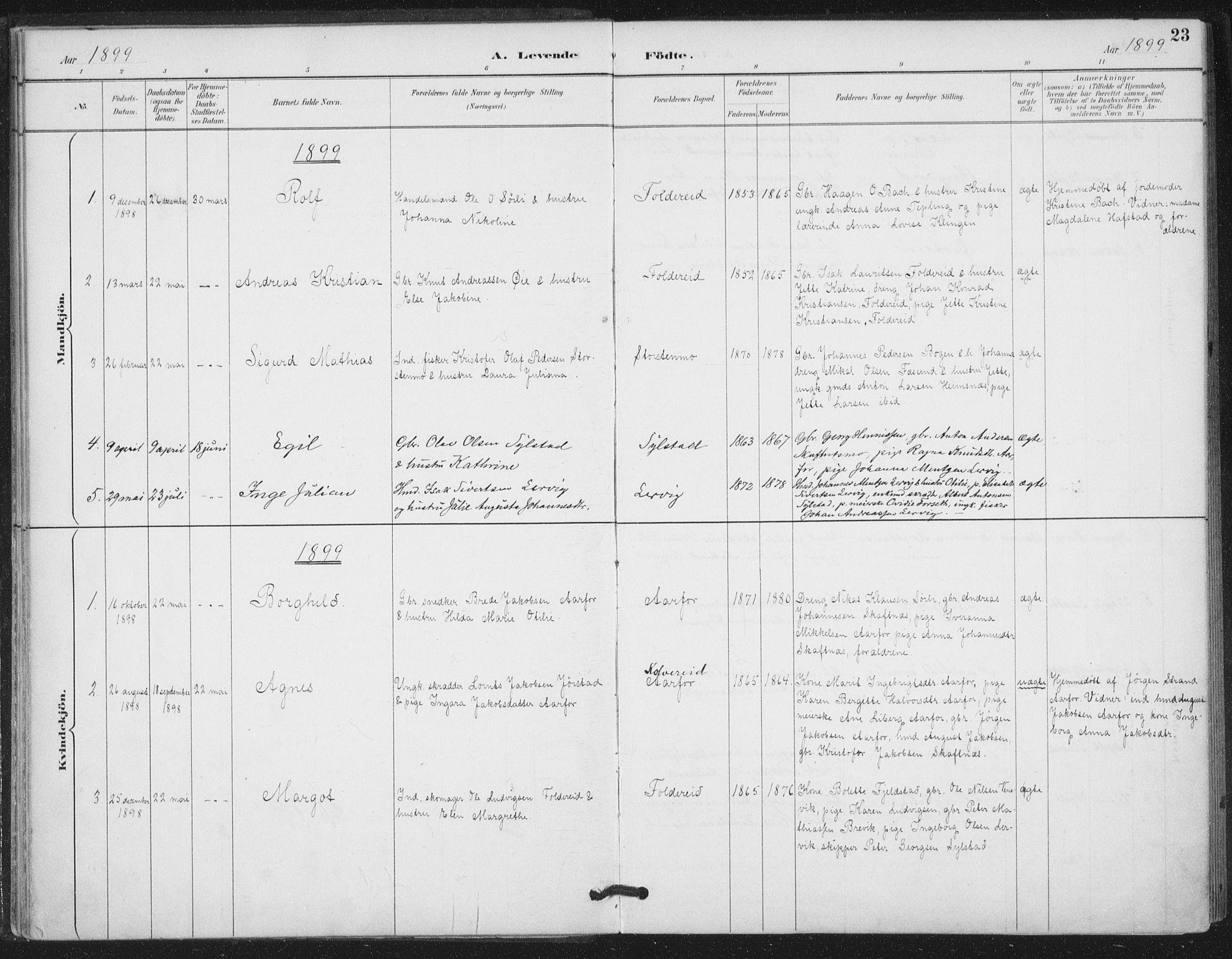 SAT, Ministerialprotokoller, klokkerbøker og fødselsregistre - Nord-Trøndelag, 783/L0660: Ministerialbok nr. 783A02, 1886-1918, s. 23
