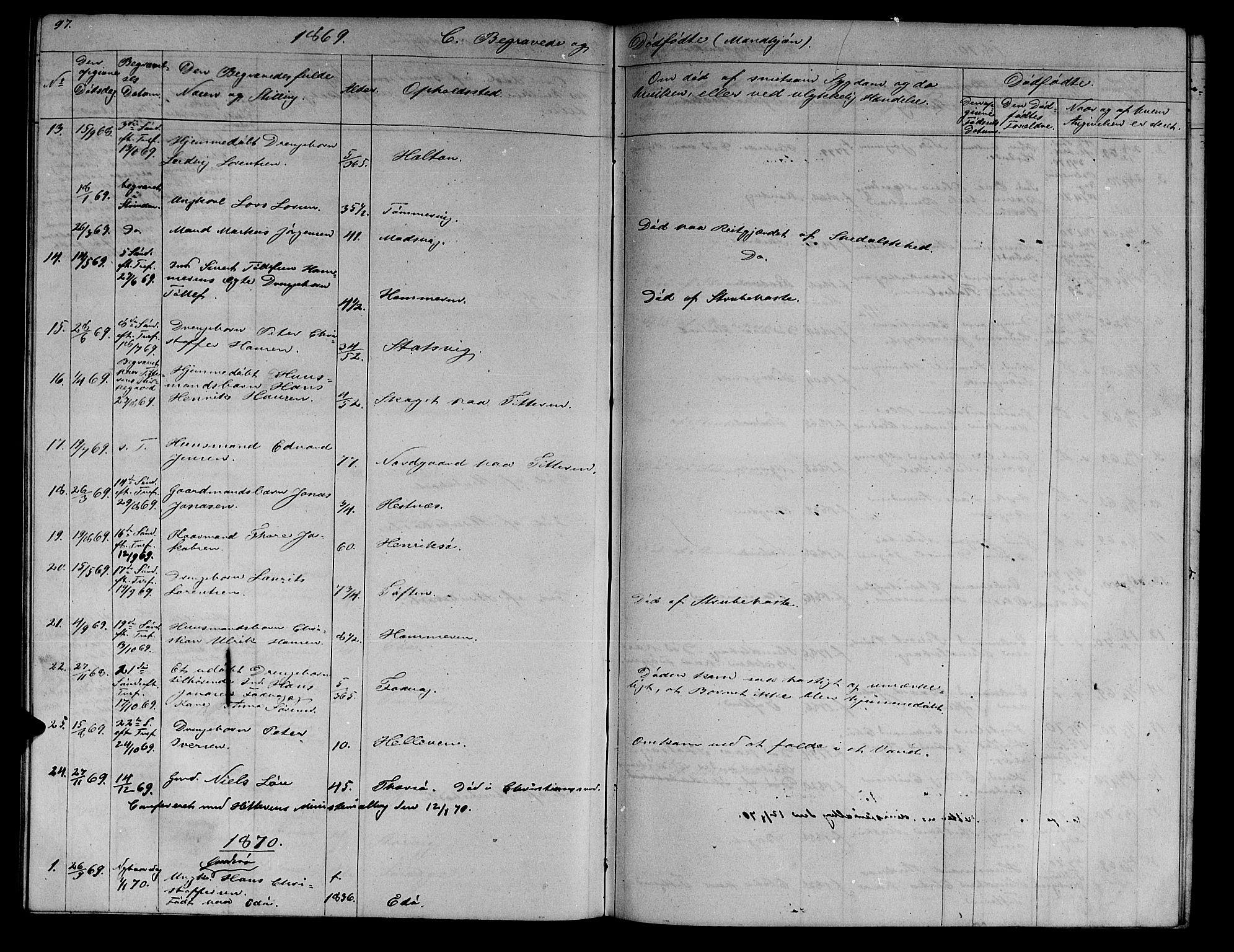 SAT, Ministerialprotokoller, klokkerbøker og fødselsregistre - Sør-Trøndelag, 634/L0539: Klokkerbok nr. 634C01, 1866-1873, s. 97